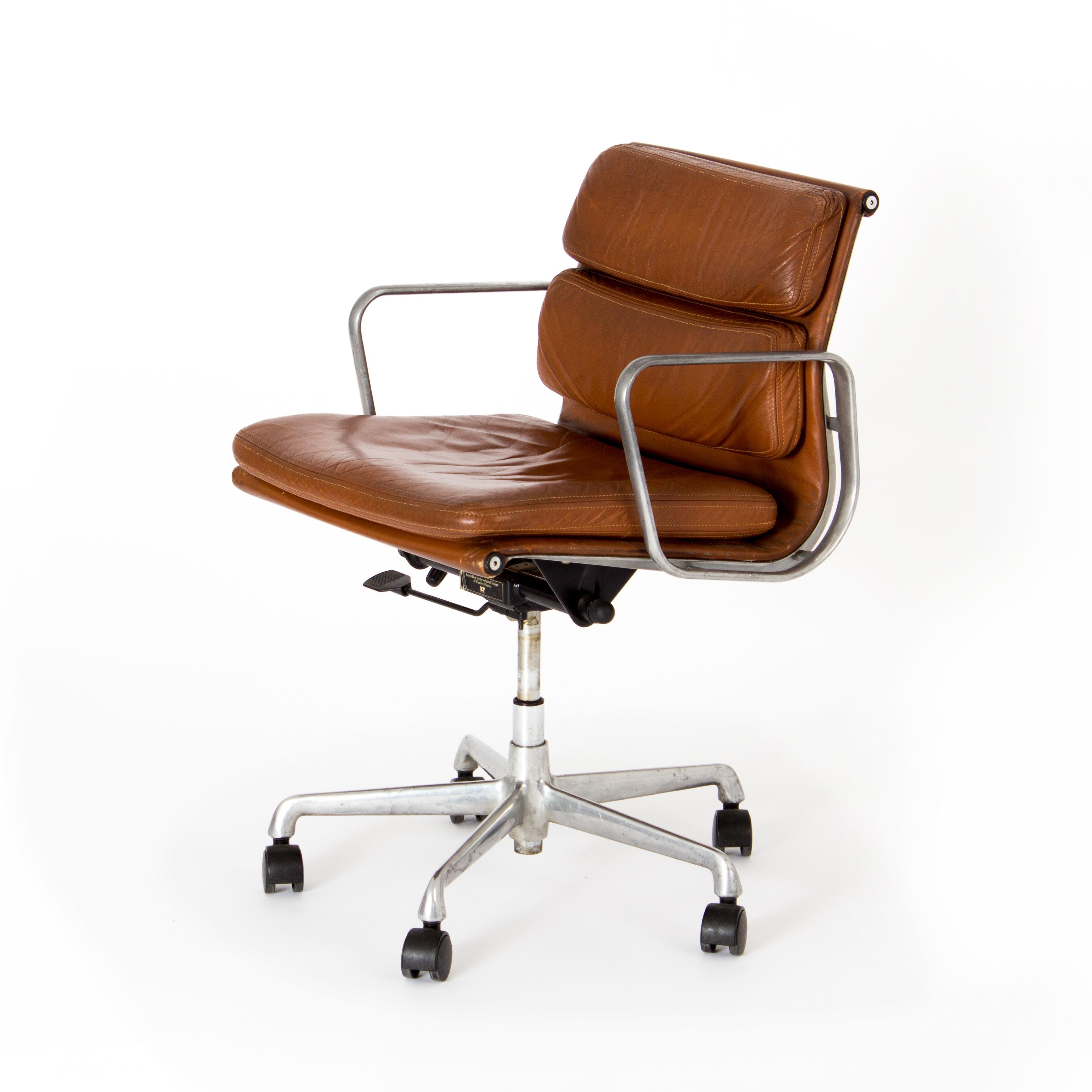 Charles Amp Ray Eames Soft Pad Chair In Cognac Leather By