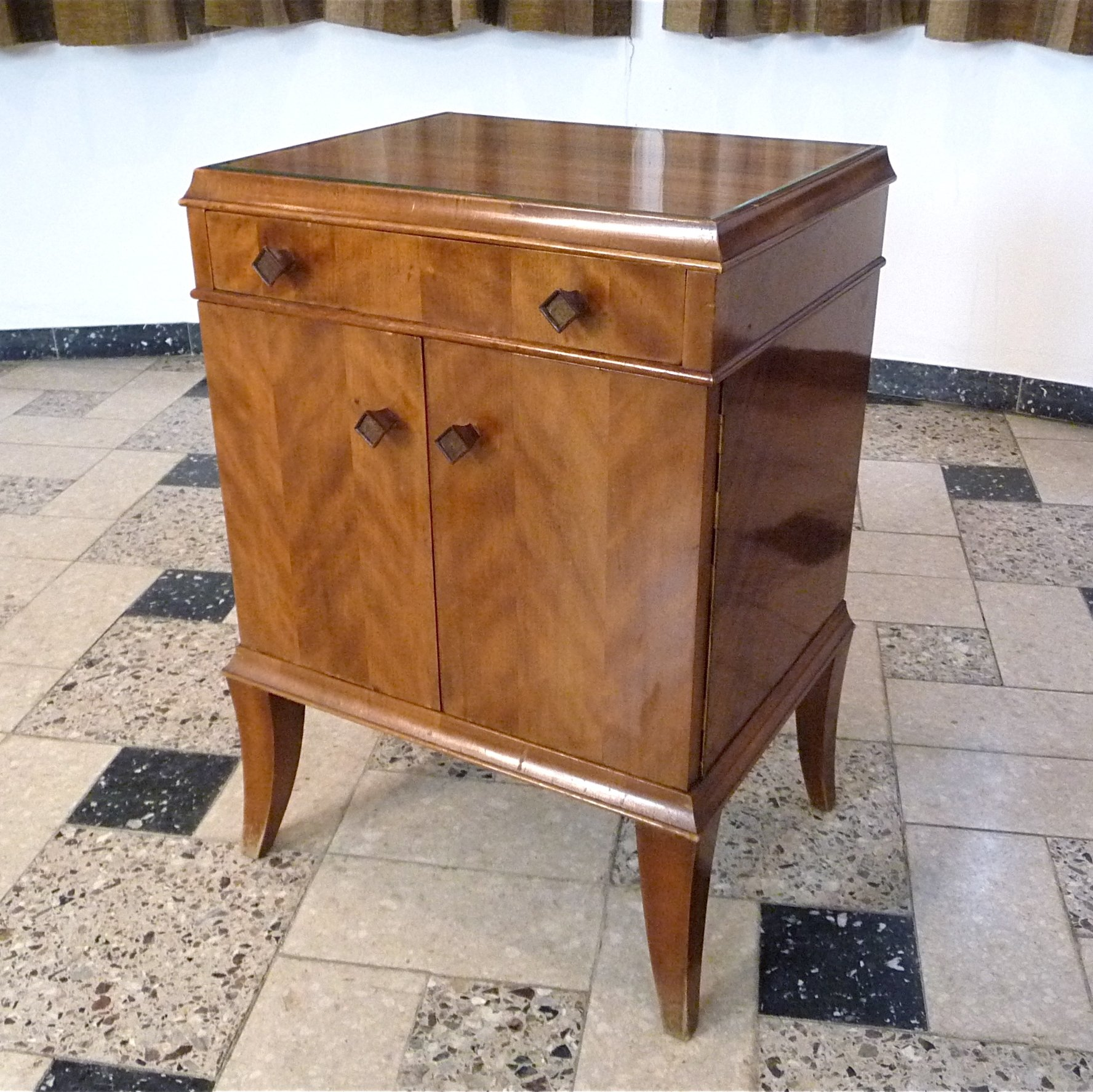 Art Deco Nightstand With Glass Top 1920s