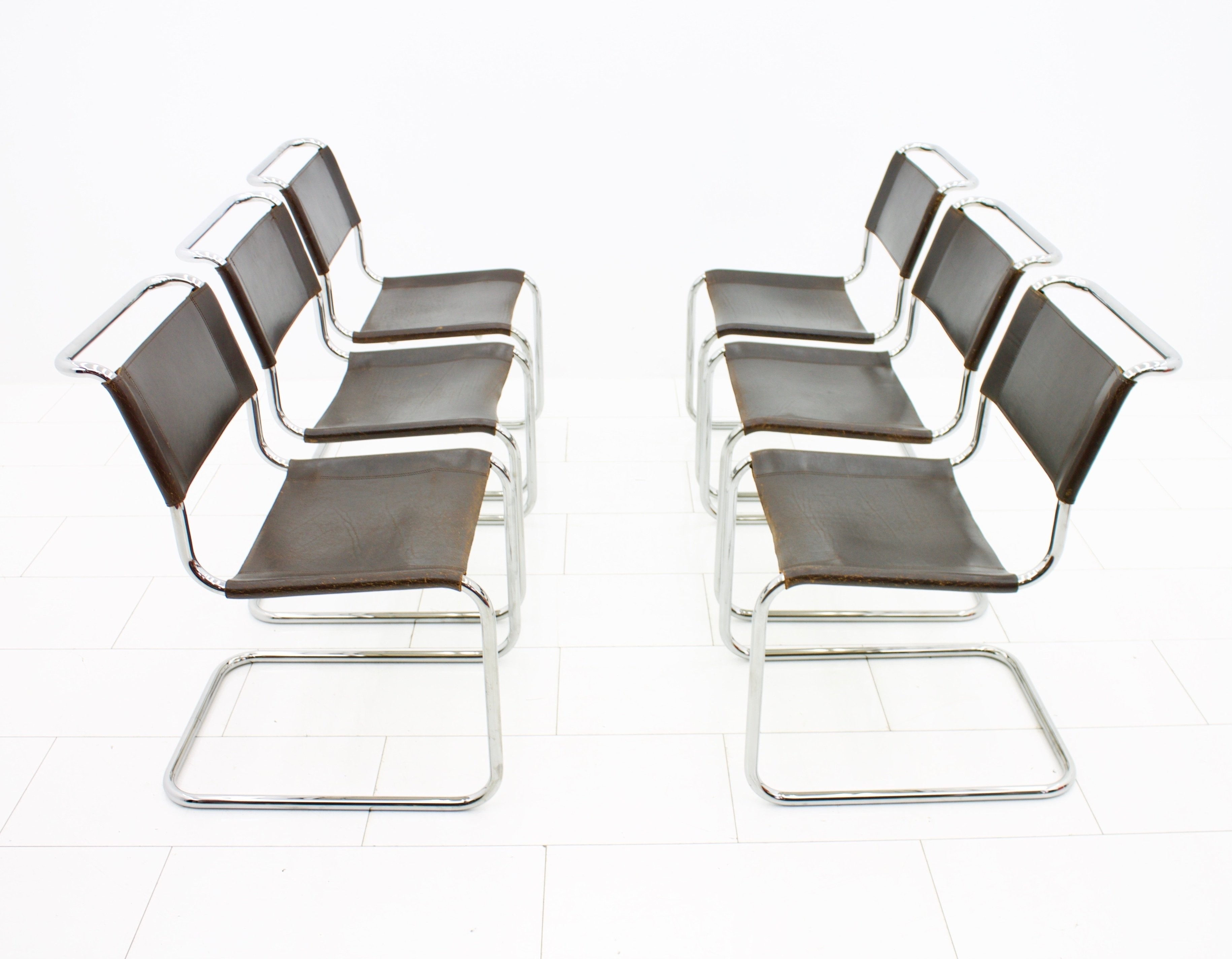 set of 6 s33 dinner chairs by mart stam for thonet 1930s. Black Bedroom Furniture Sets. Home Design Ideas