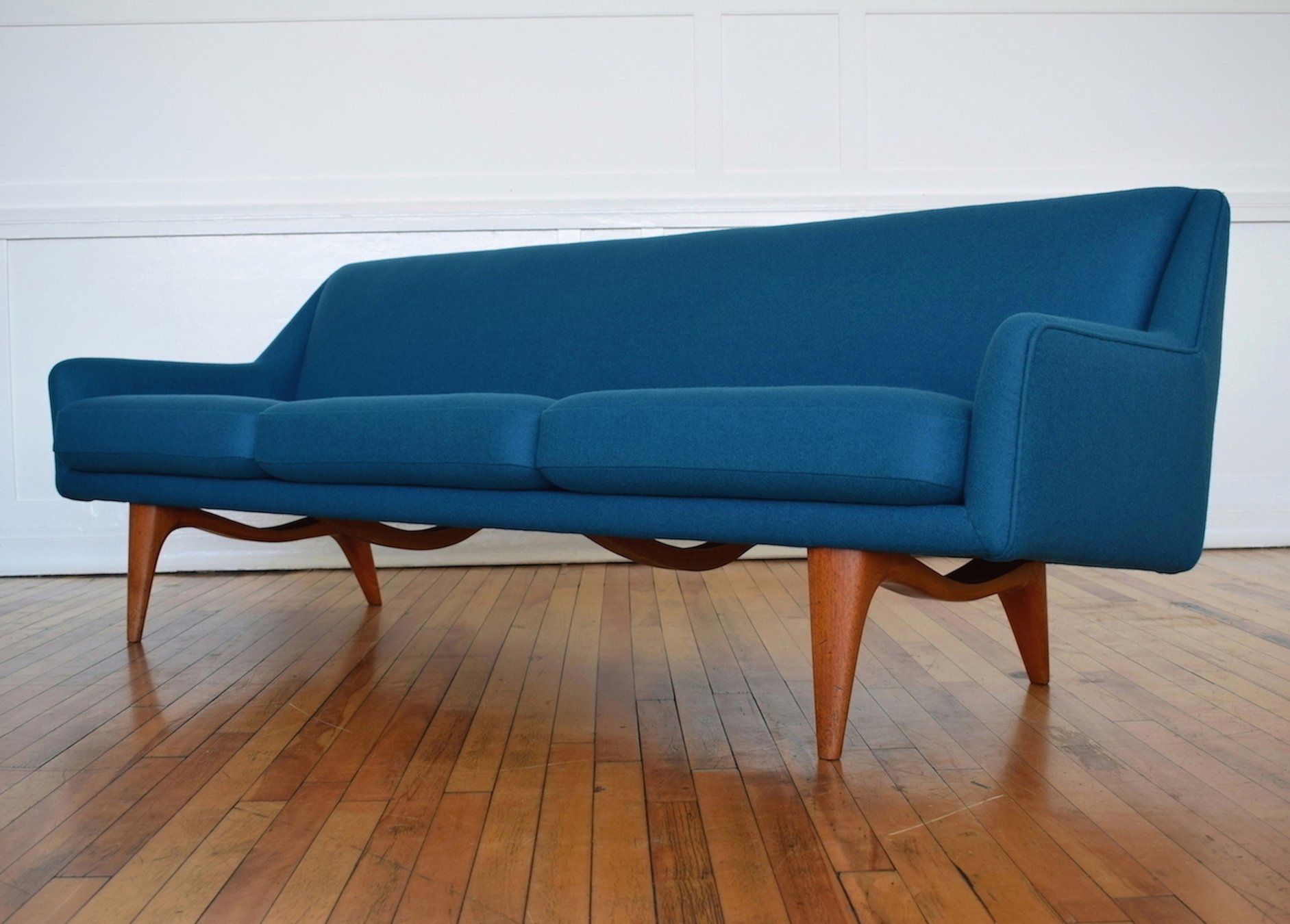 Gentil Danish ML Sofa By Illum Wikkelso For Mikael Laursen In Kvadrat Wool, 1950s