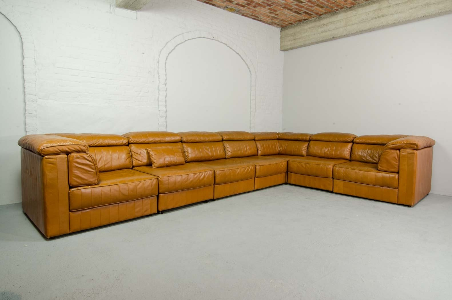 7 Elements Modular Patchwork Sofa By Laauser In Cognac Leather, 1970s