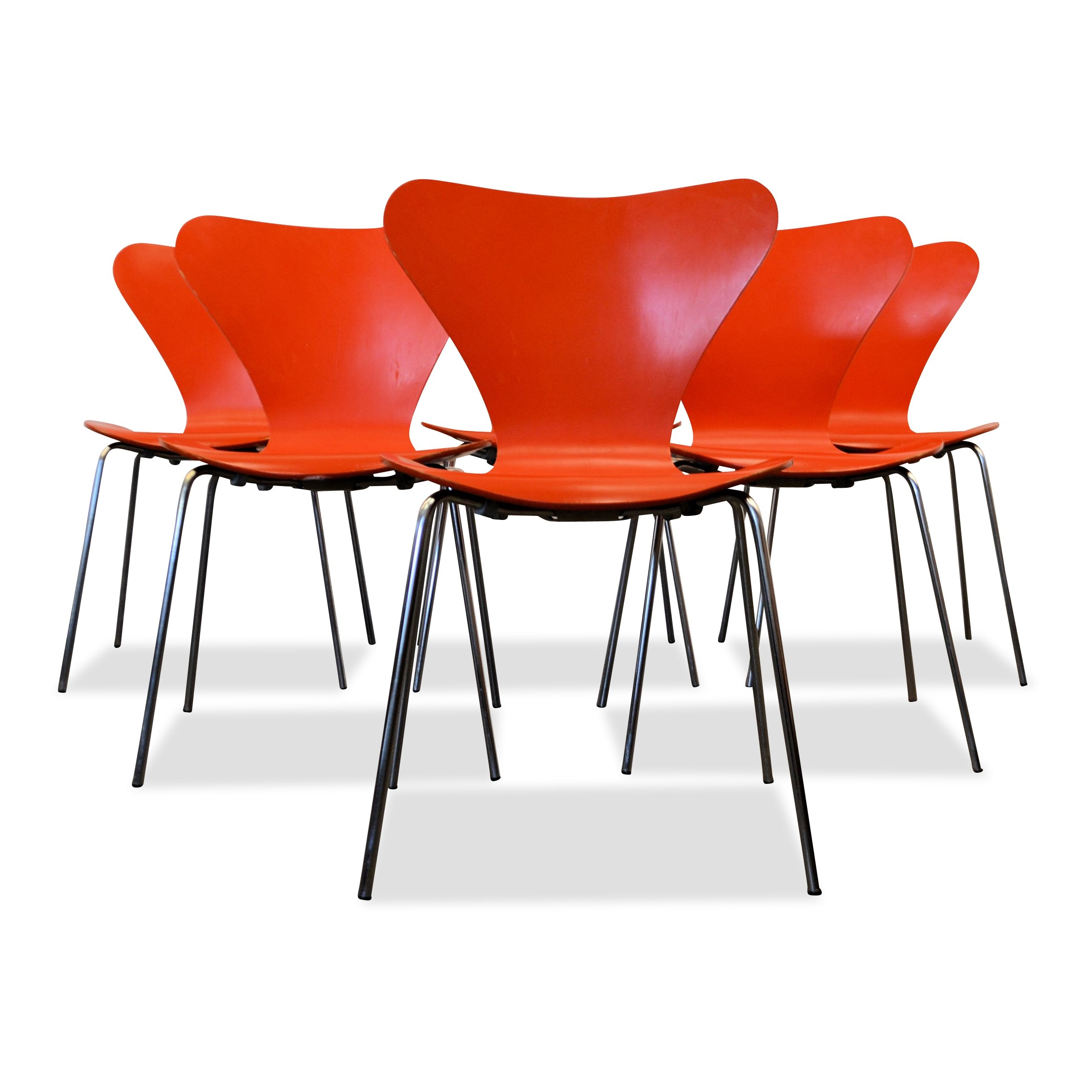 Arne Jacobsen Model 3107 Orange Dining Chairs