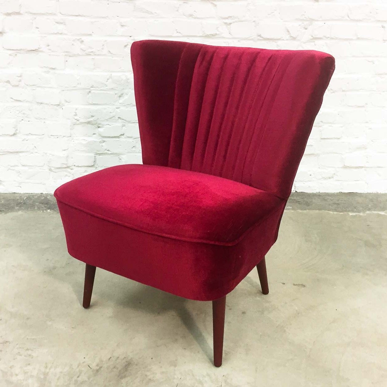 Cherry Red Velvet Cocktail Chair 1960s 66517