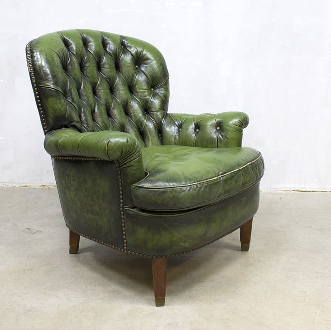 Green Chesterfield Arm Chair 1950s