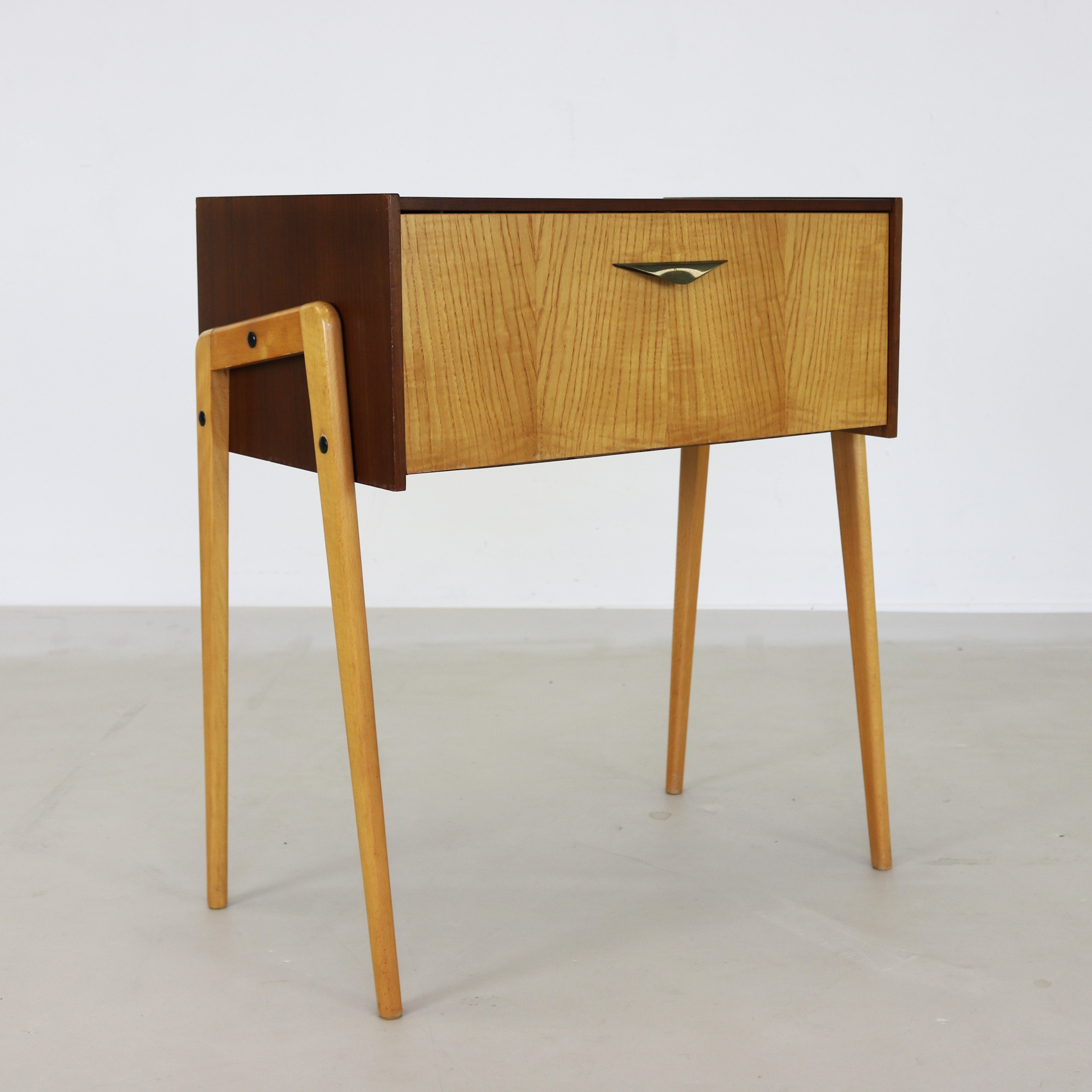Record Cabinet In Two Tone Wood, 1960s