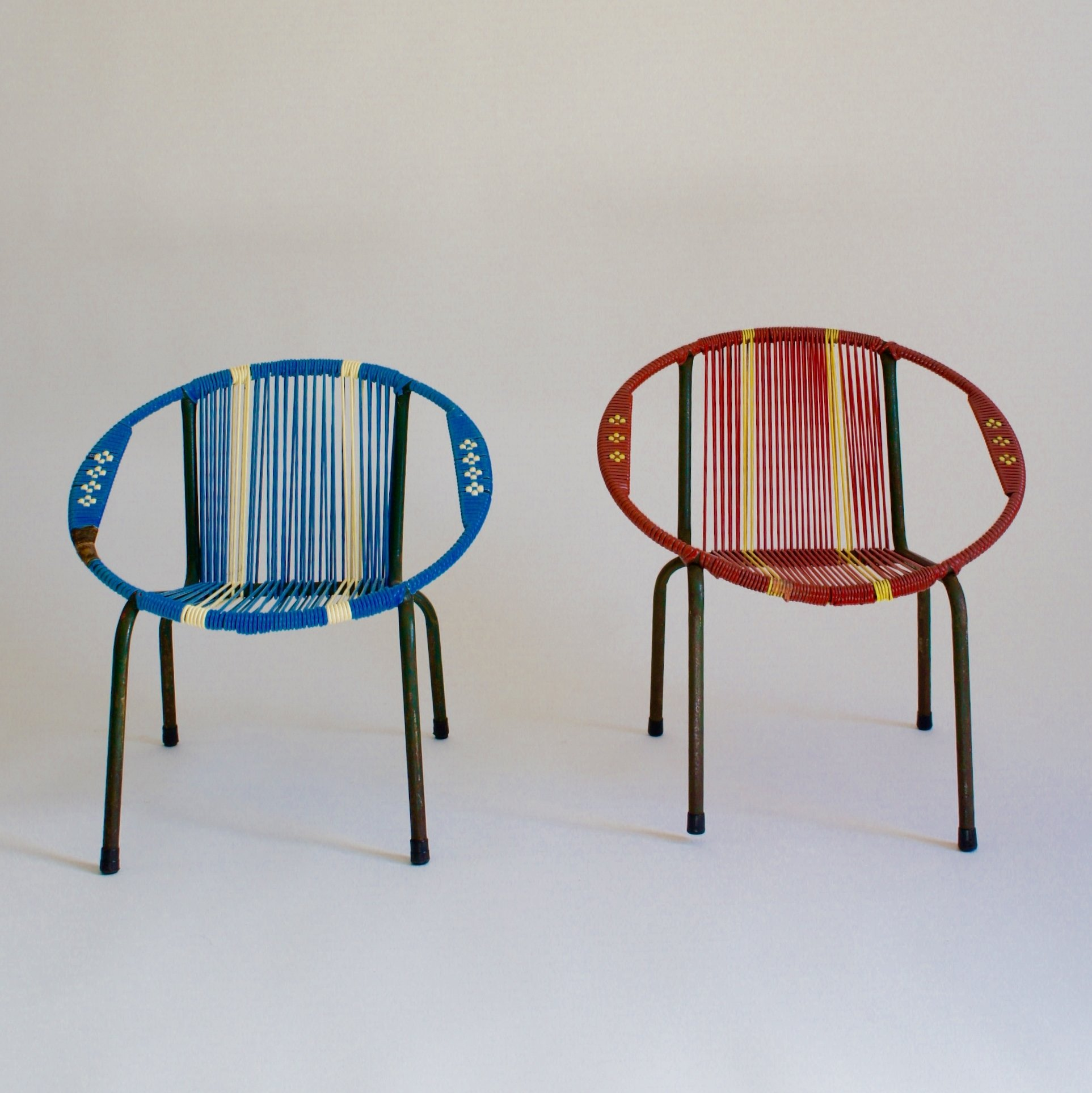 Red & Blue Childrens Bucket Chairs, 1960s   #67391