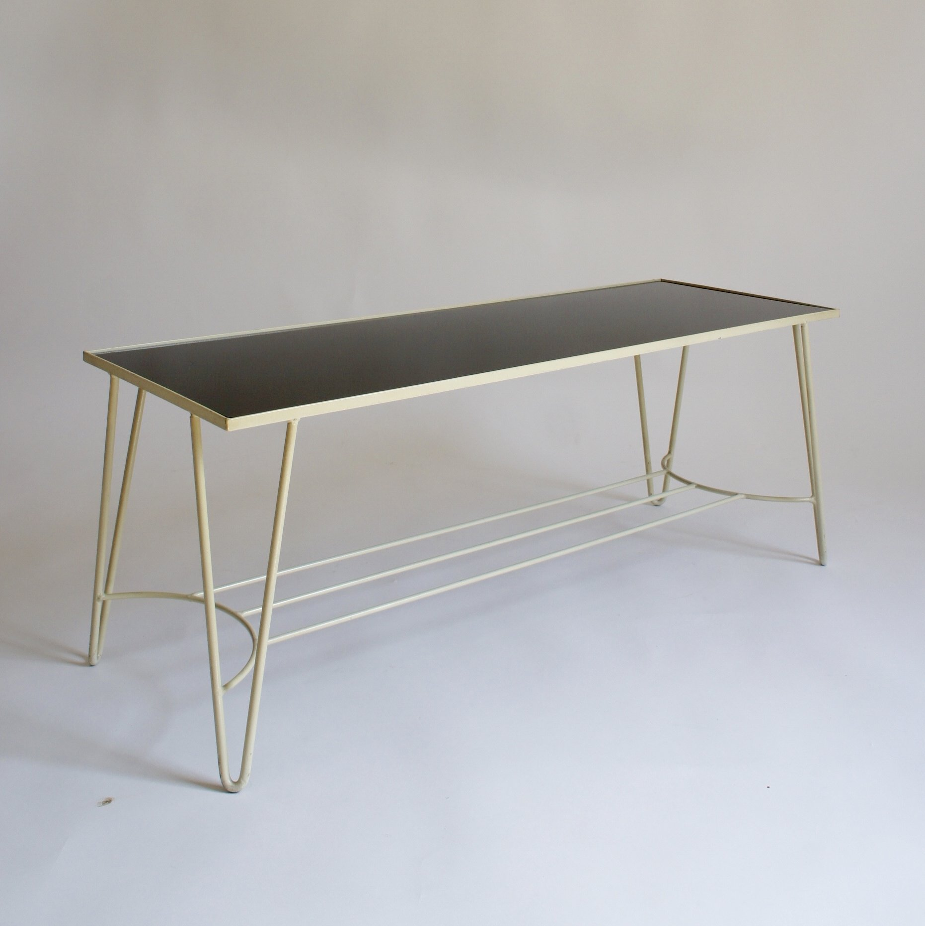 Mid Century Black Glass Hairpin Coffee Table