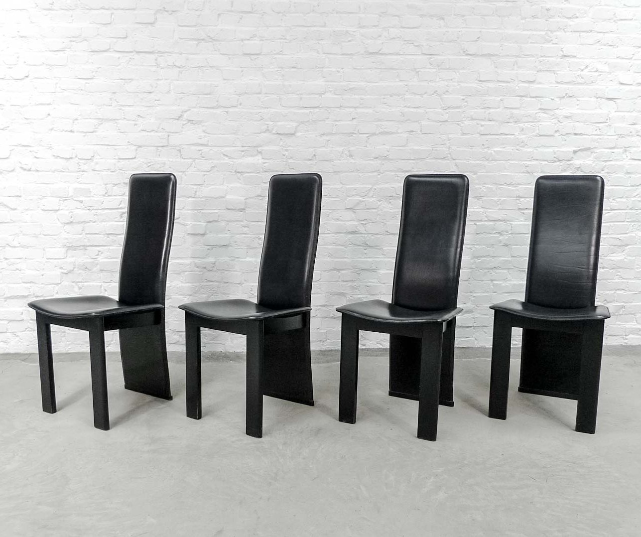 Black Sadle Leather High Back Dining Chairs 1970s 68002