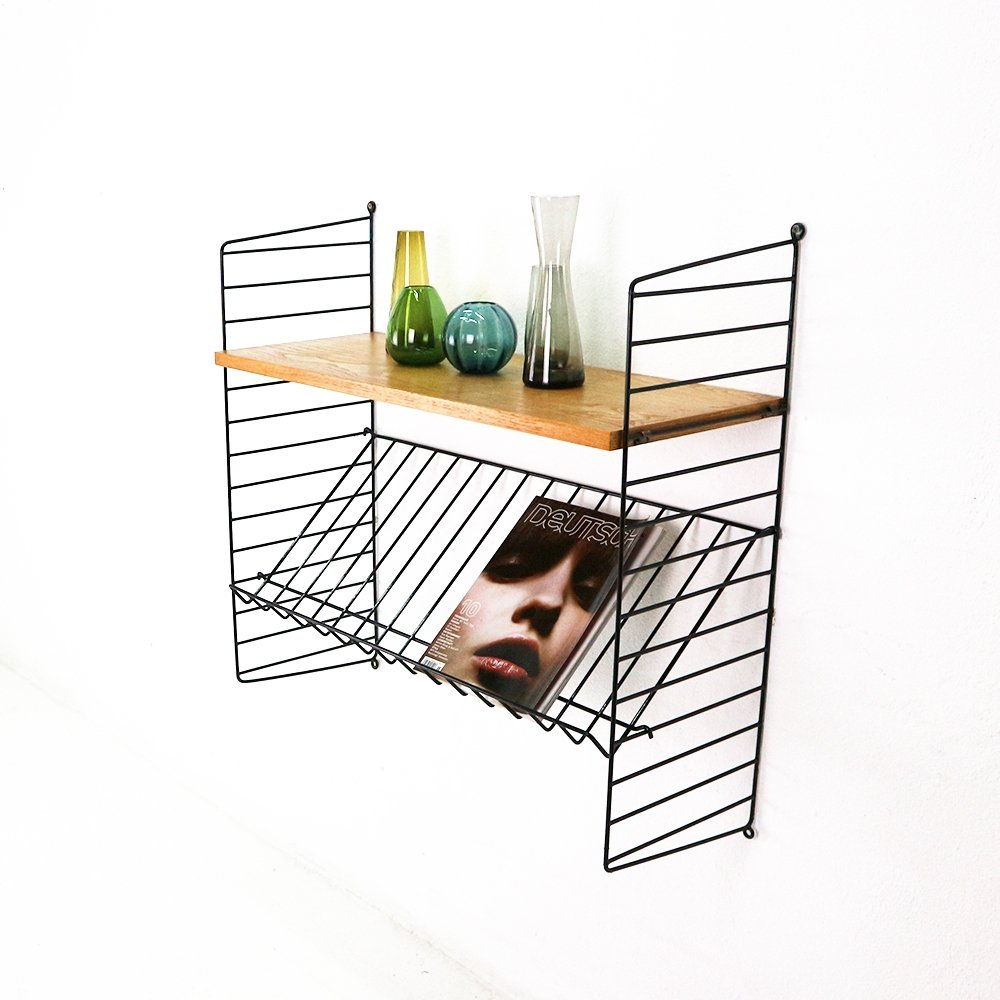original string wall shelf with magazine rack 68714 rh vntg com