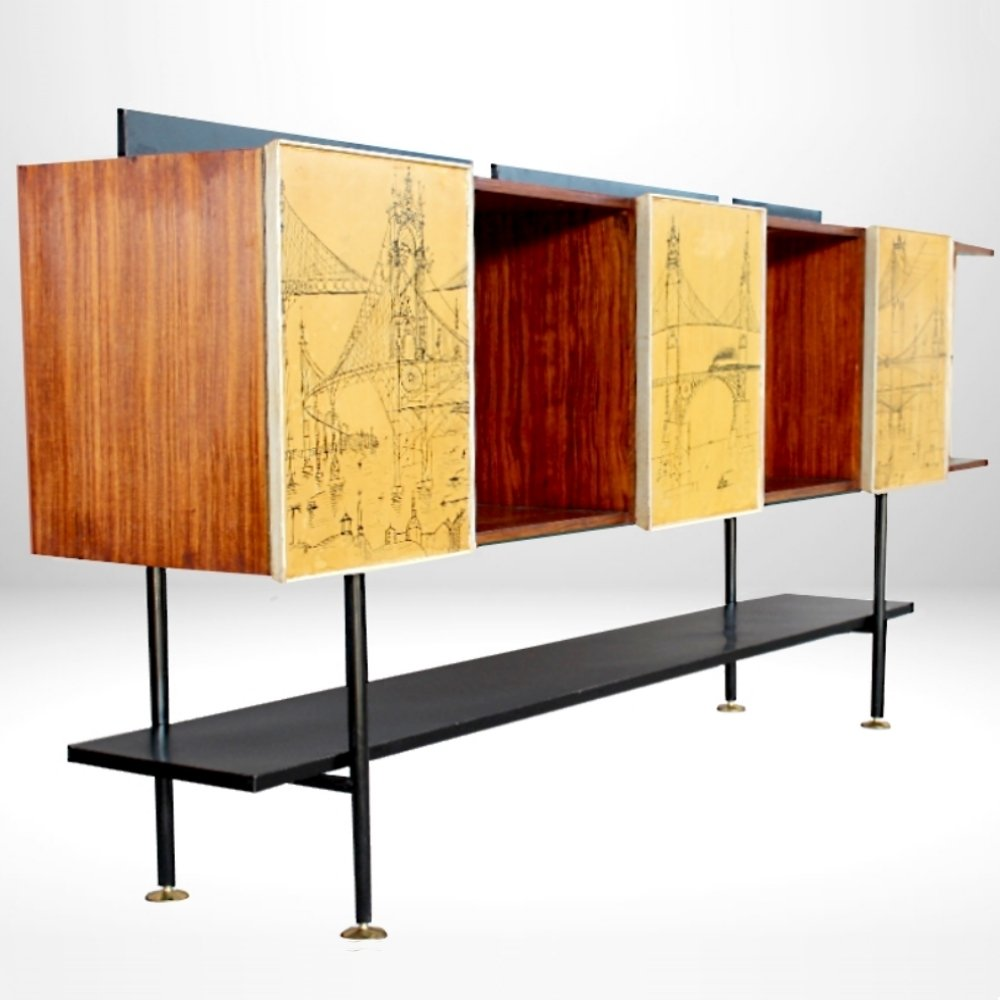 italian midcentury sideboard with designs 1950s 68752. Black Bedroom Furniture Sets. Home Design Ideas