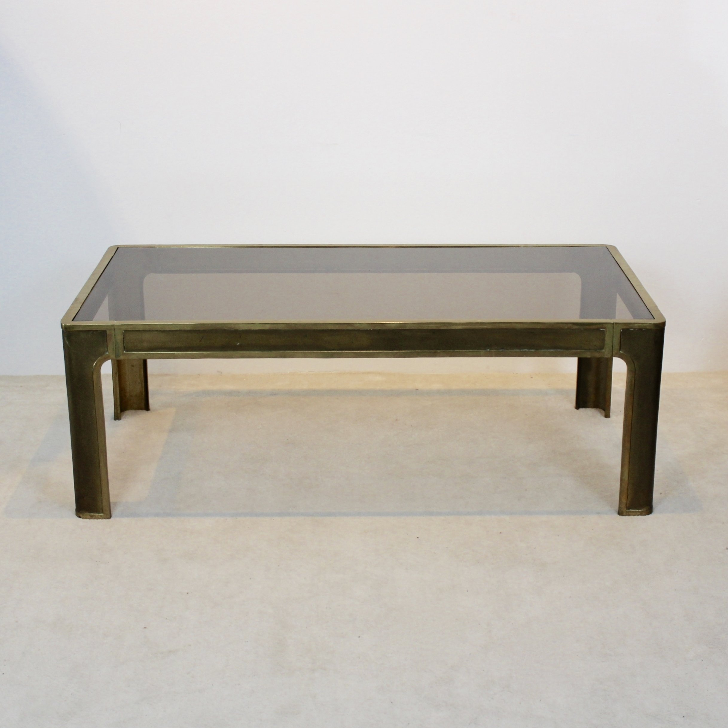 - Peter Ghyczy Brass & Glass Coffee Table, 1970s #68857