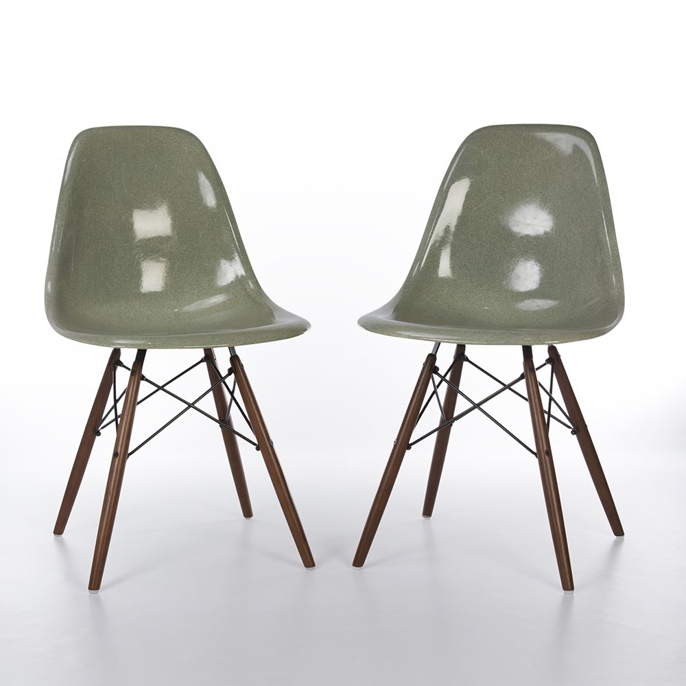 original zenith seafoam eames dsw side chairs for herman