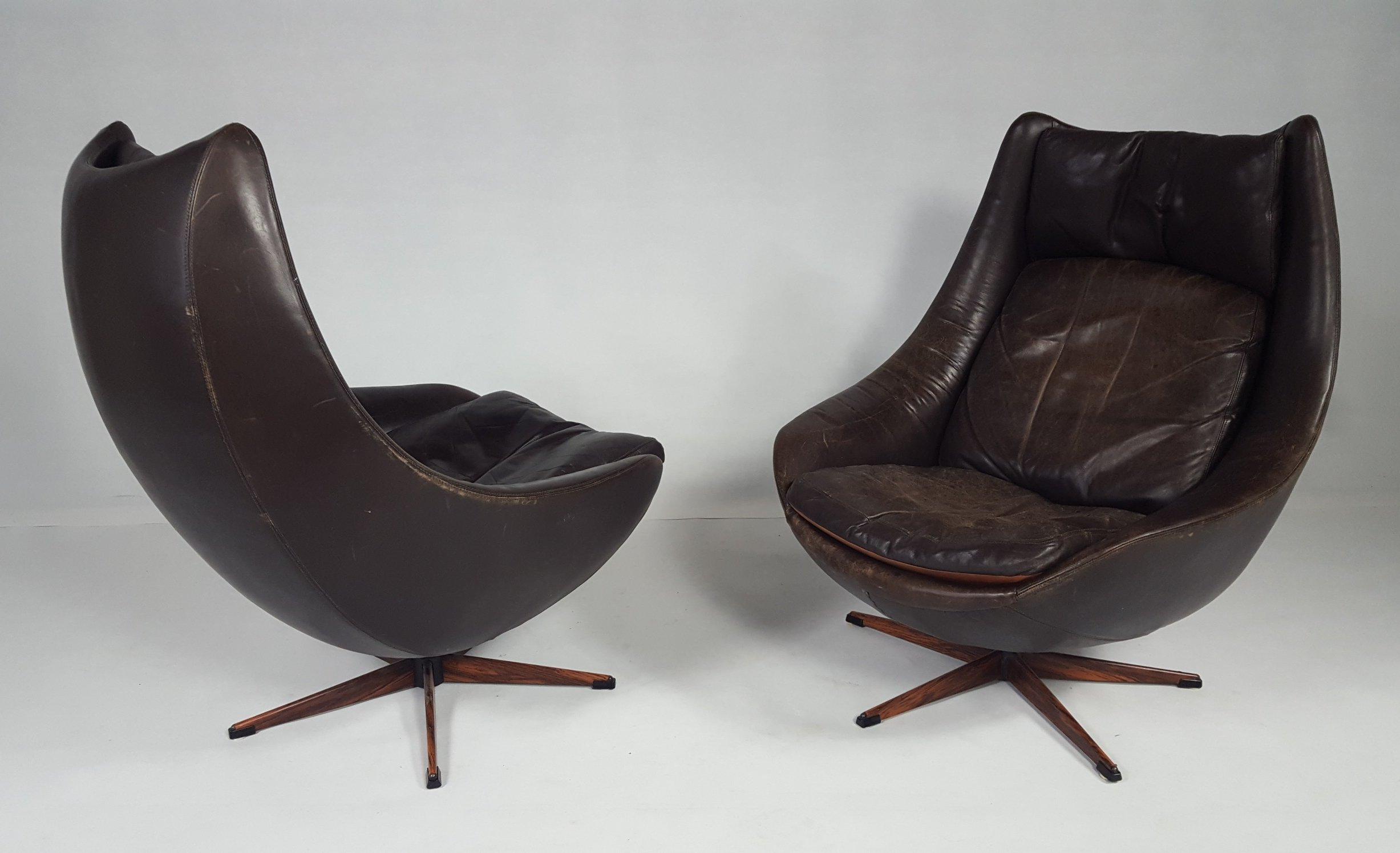 Pair of Danish Leather Swivel Chairs 1970s