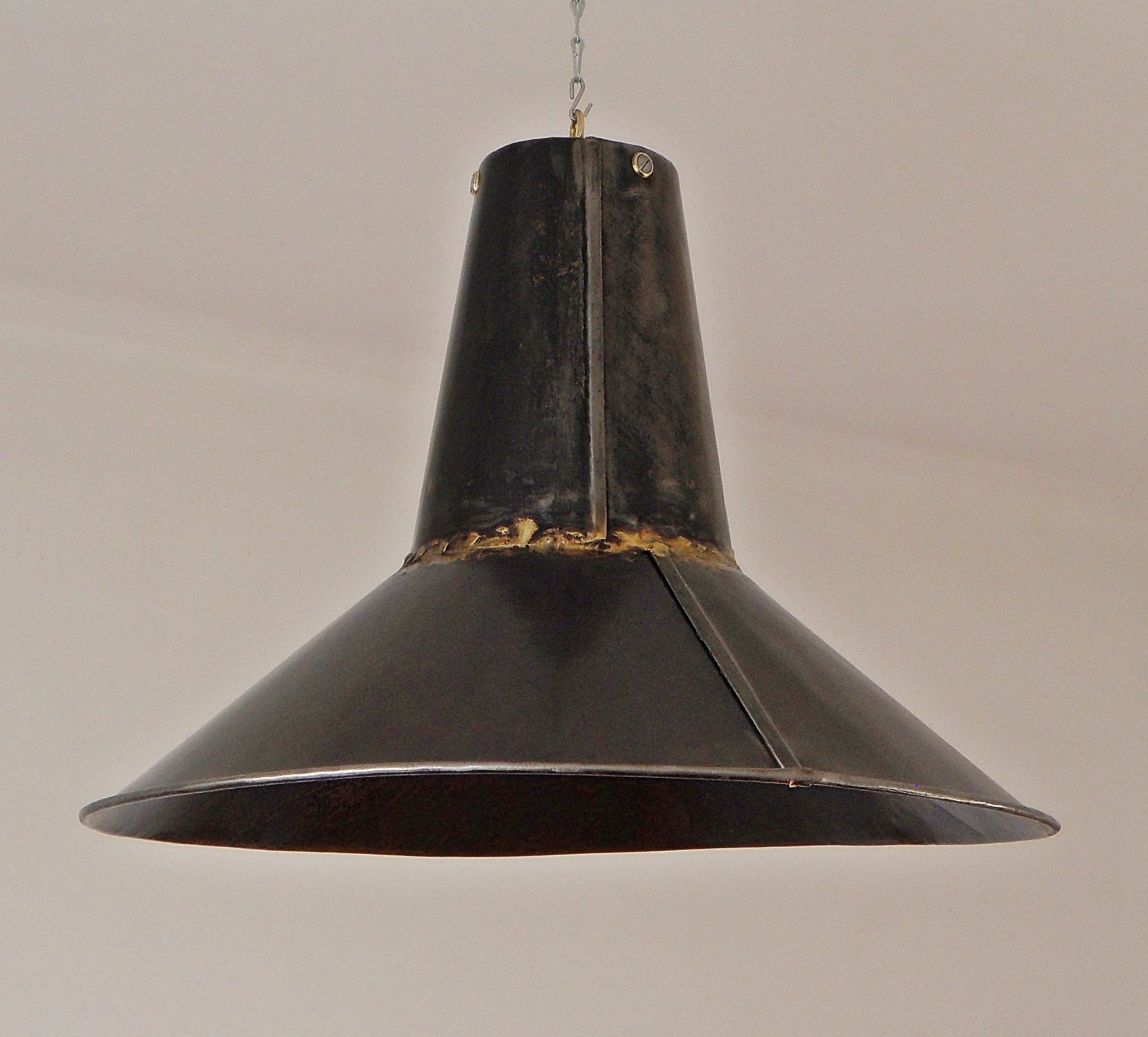 Superb Pair Of Industrial Lamps In Raw Steel Sheet, 1950s