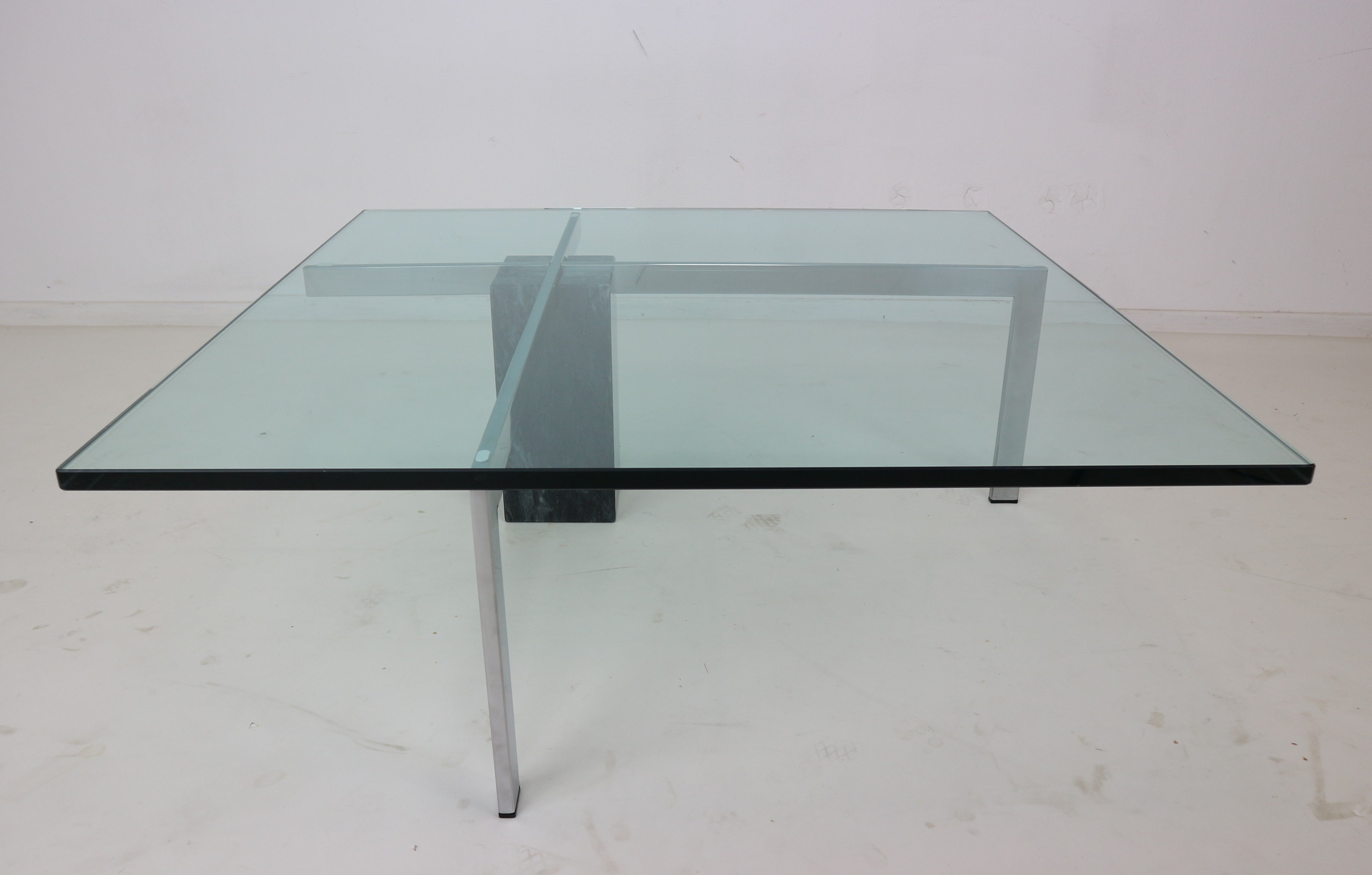 Modernist Italian Marble & Glass Coffee Table 1970s