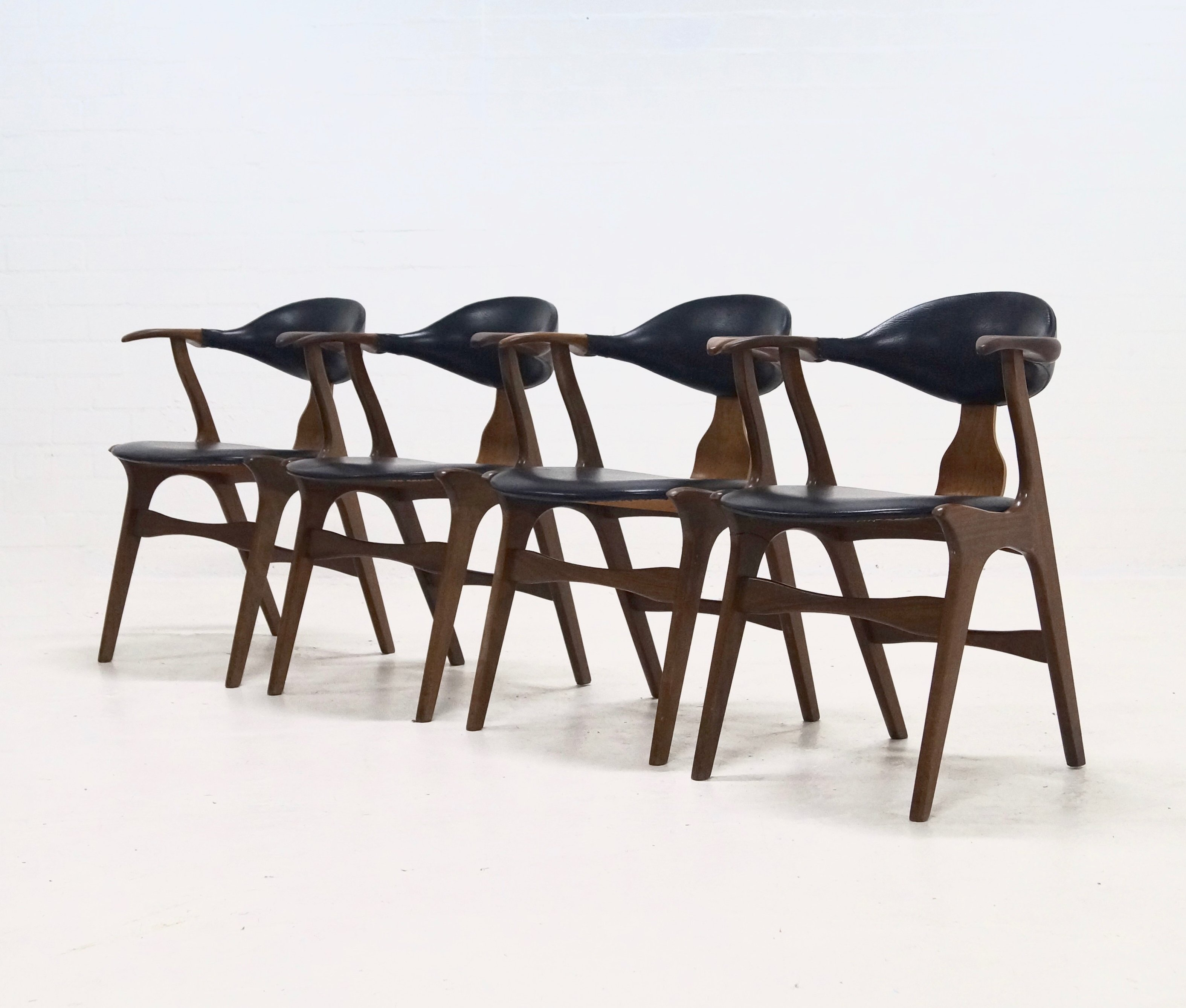 Set Of 4 Cow Horn Chairs By Louis Van Teeffelen For AWA, 1960