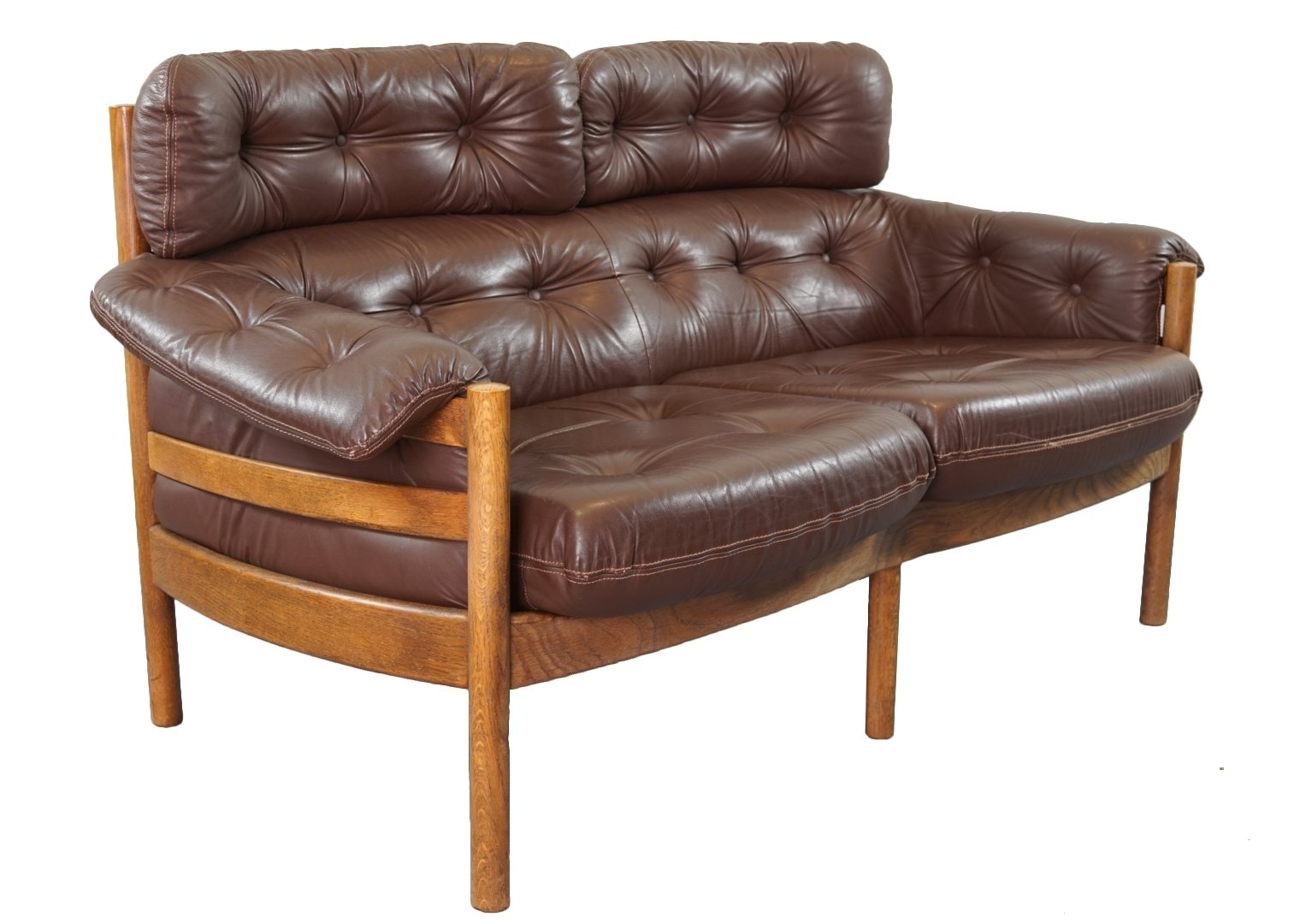 teak and leather sofa by sven ellekaer for coja