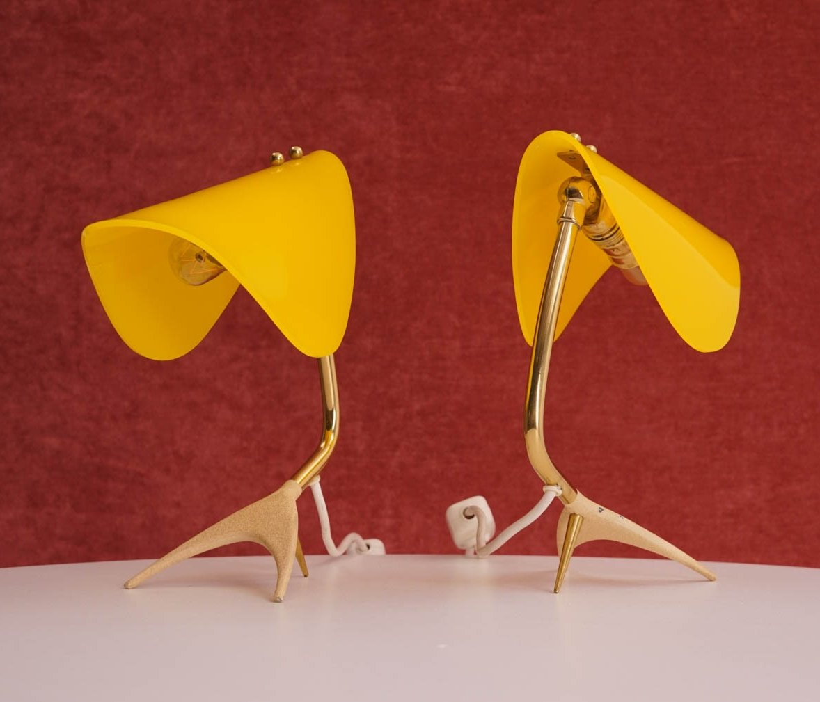 Pair Of Table Lamp With Yellow Shades 70414