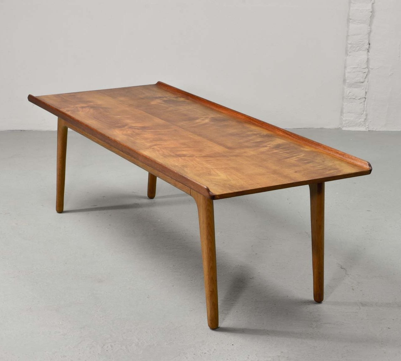 Solid teak with oak coffee table by aksel bender madsen for bovenkamp 71077 Solid teak coffee table