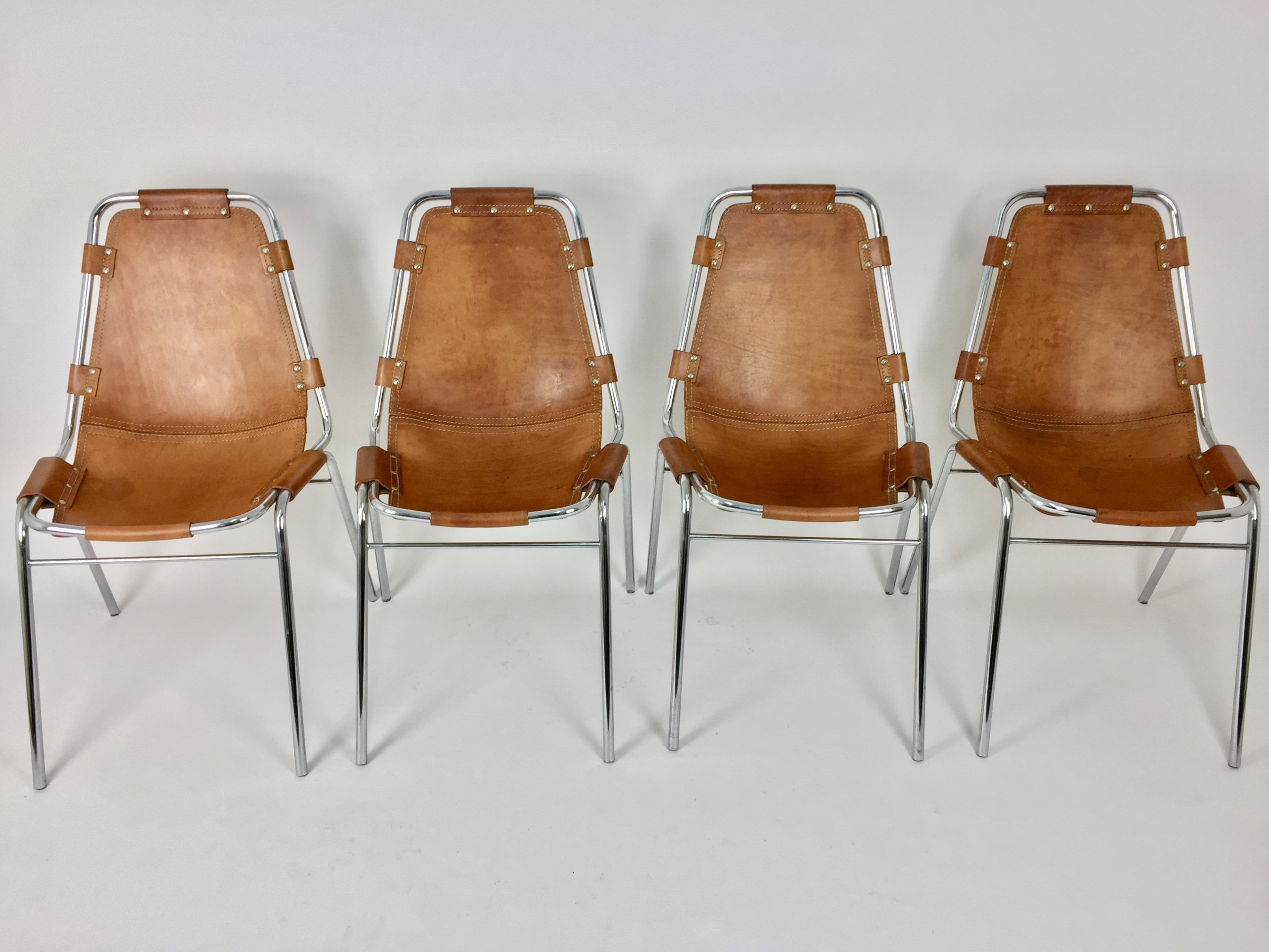 set of 4 les arcs dinner chairs by charlotte perriand 1960s 71275. Black Bedroom Furniture Sets. Home Design Ideas