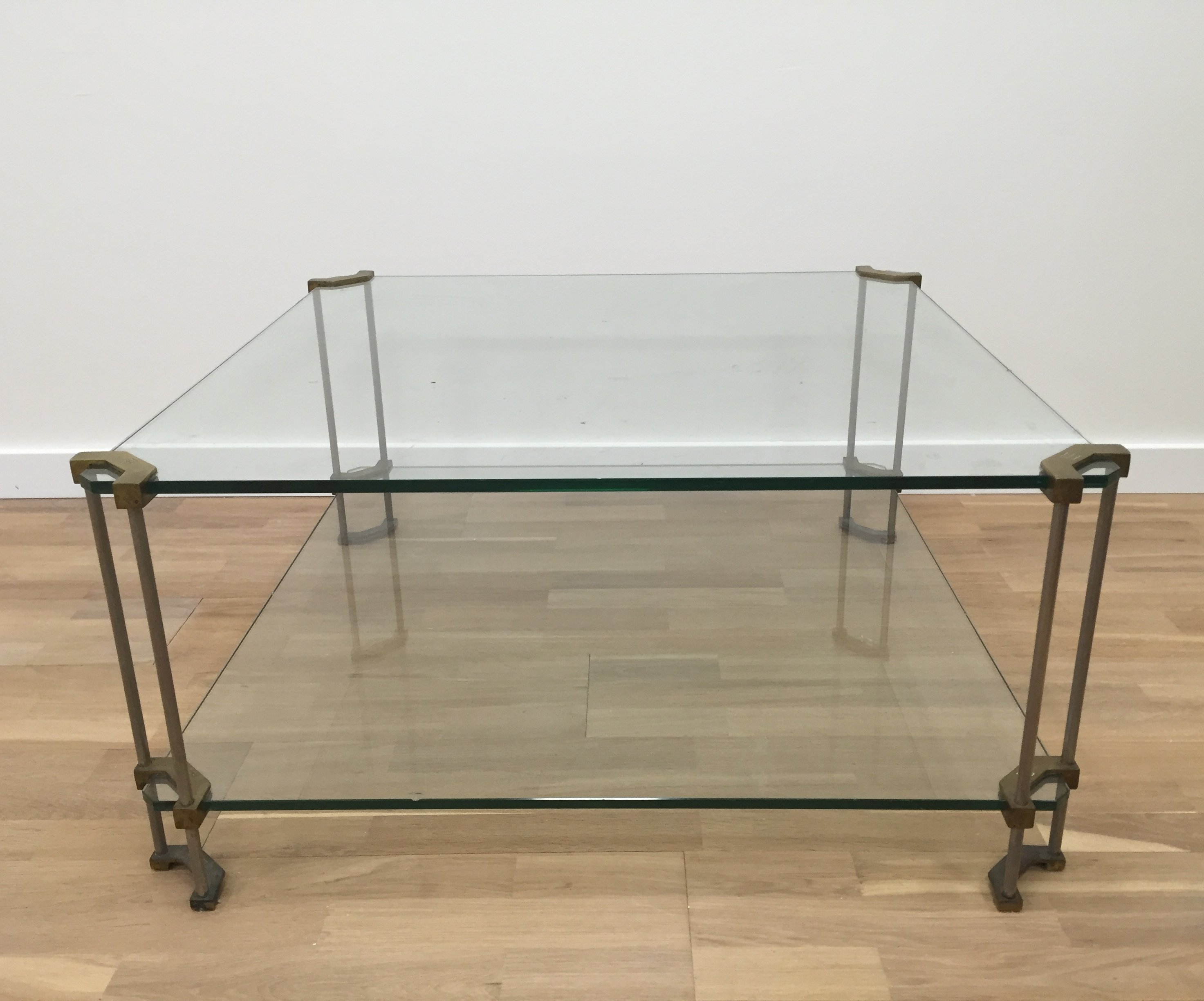 Glass brass & steel framed square Peter Ghyczy coffee table