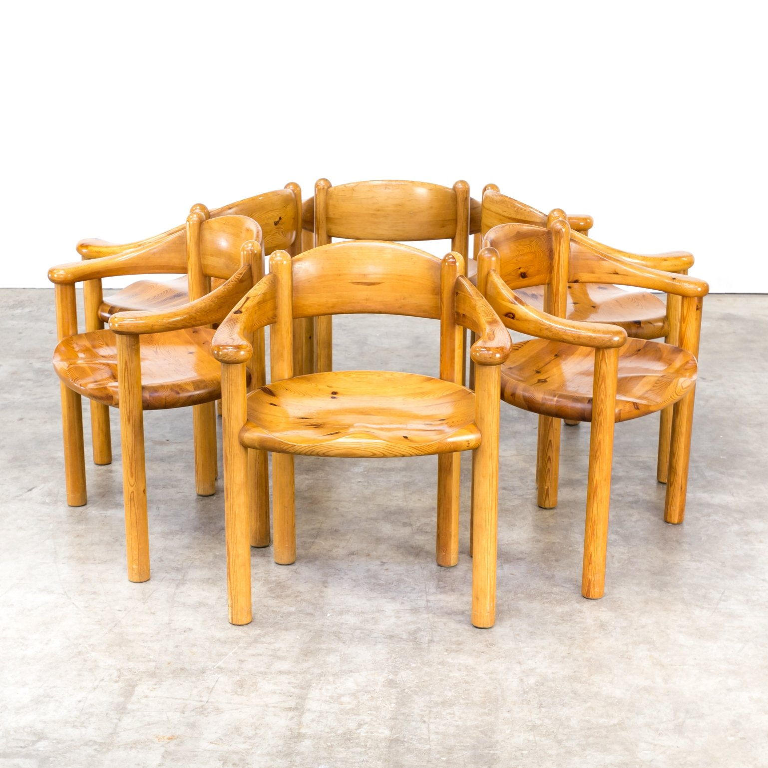 60s Rainer Daumiller Pine Dining Chairs Set/6