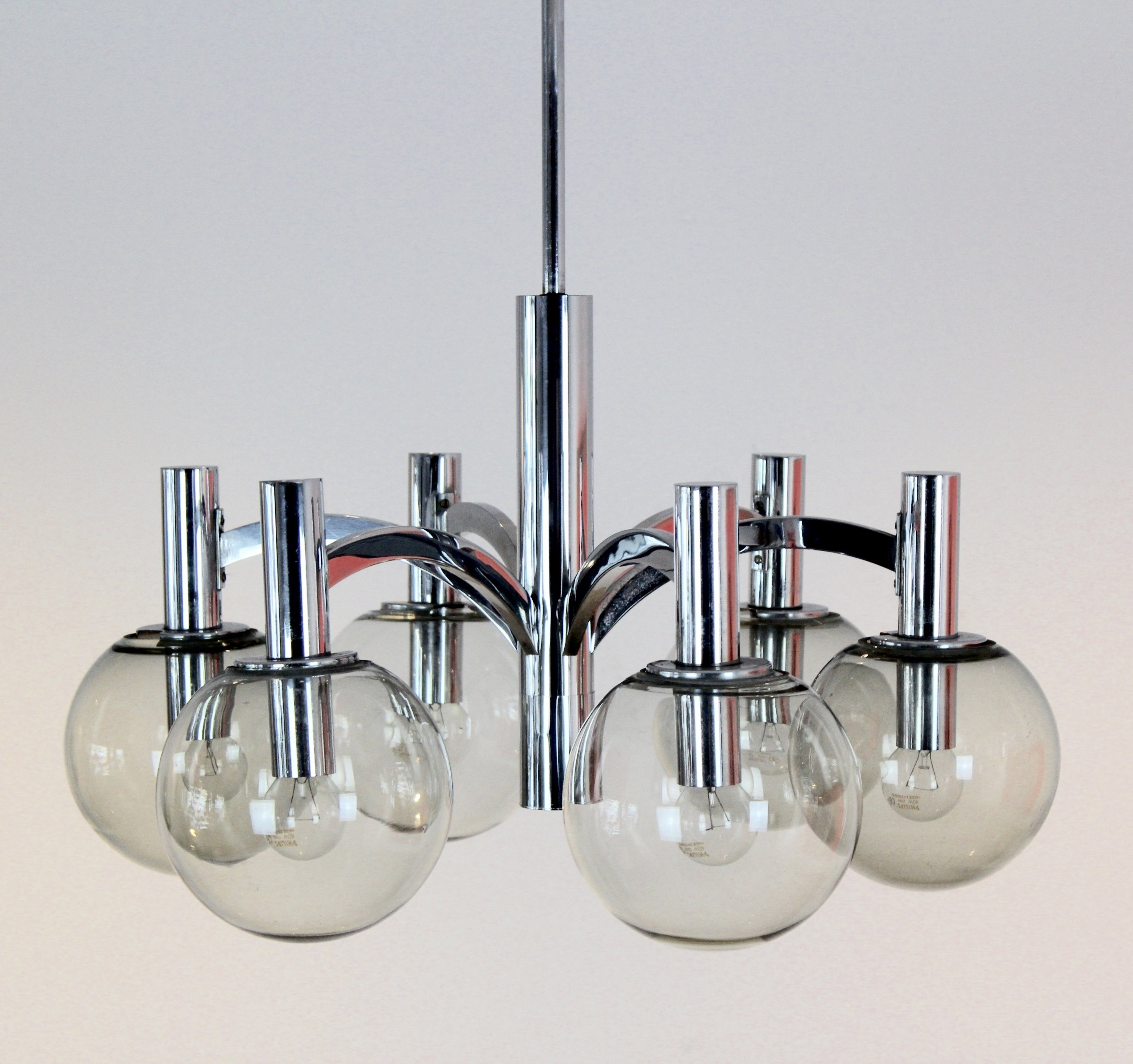 Chrome U0026 Glass Chandelier By Kaiser Leuchten, Germany