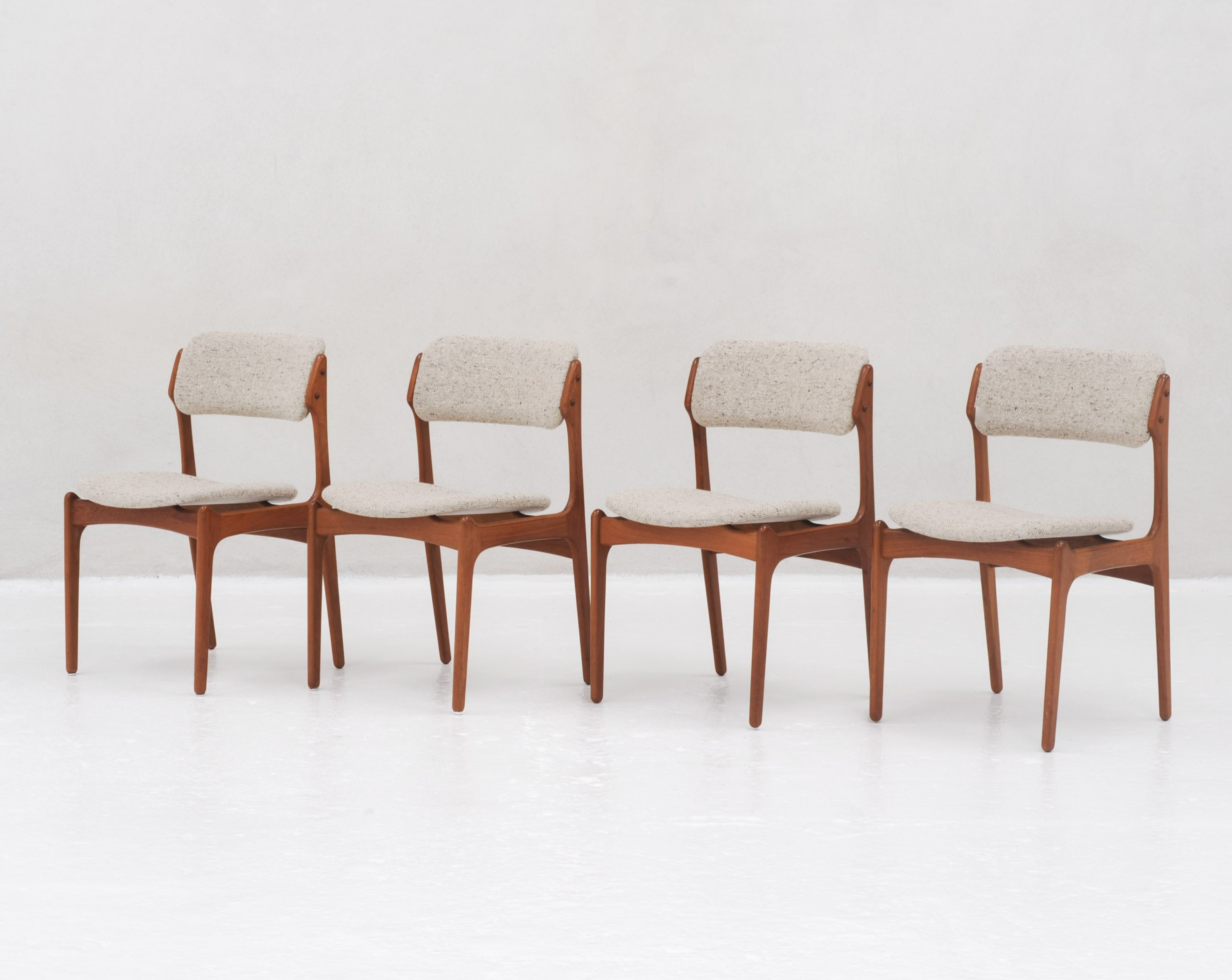 Set of 4 Model 49 Dining chairs in teak by Erik Buck for O D