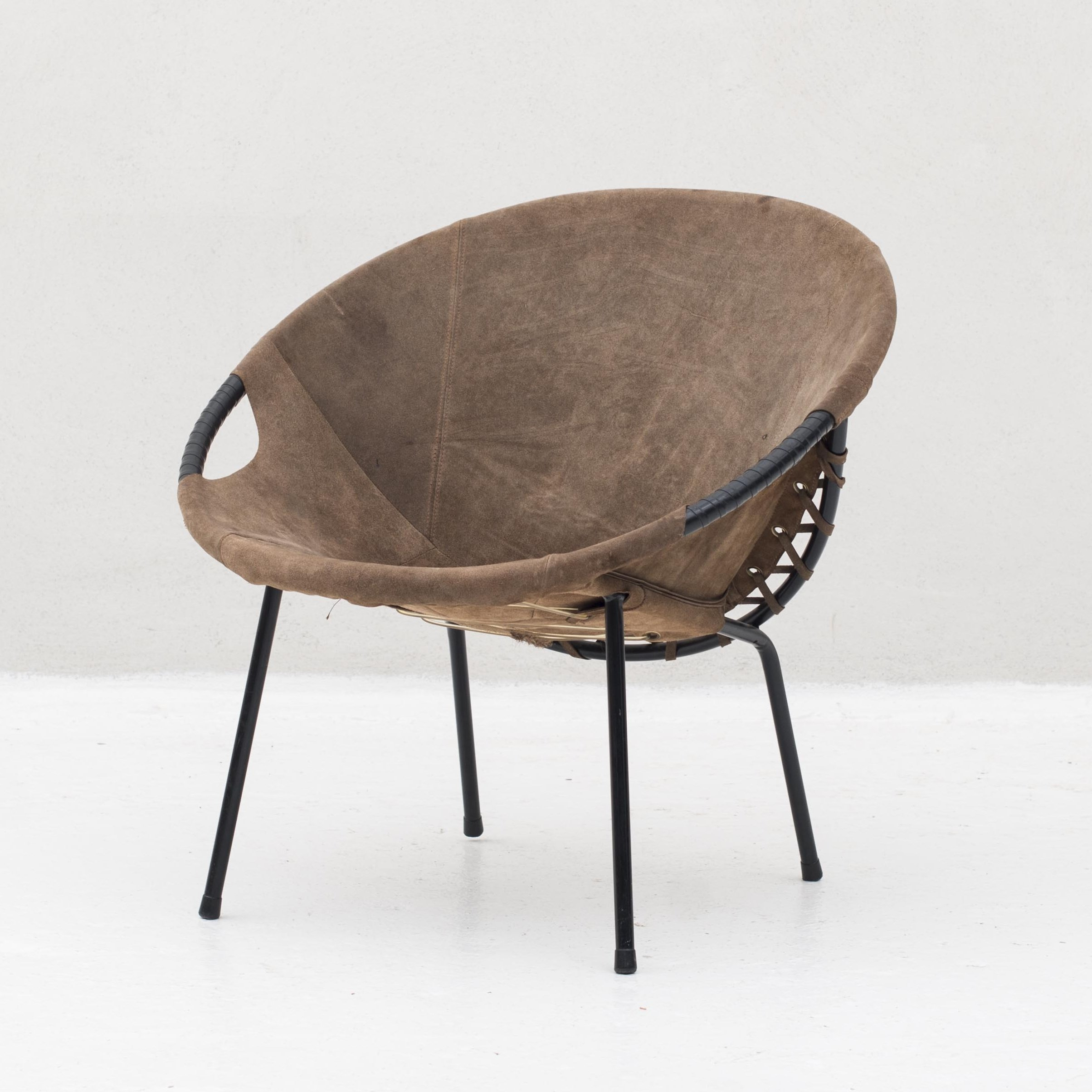 Delicieux Circle Balloon Chair In Metal U0026 Suede By Lusch Erzeugnis, Germany 1960s