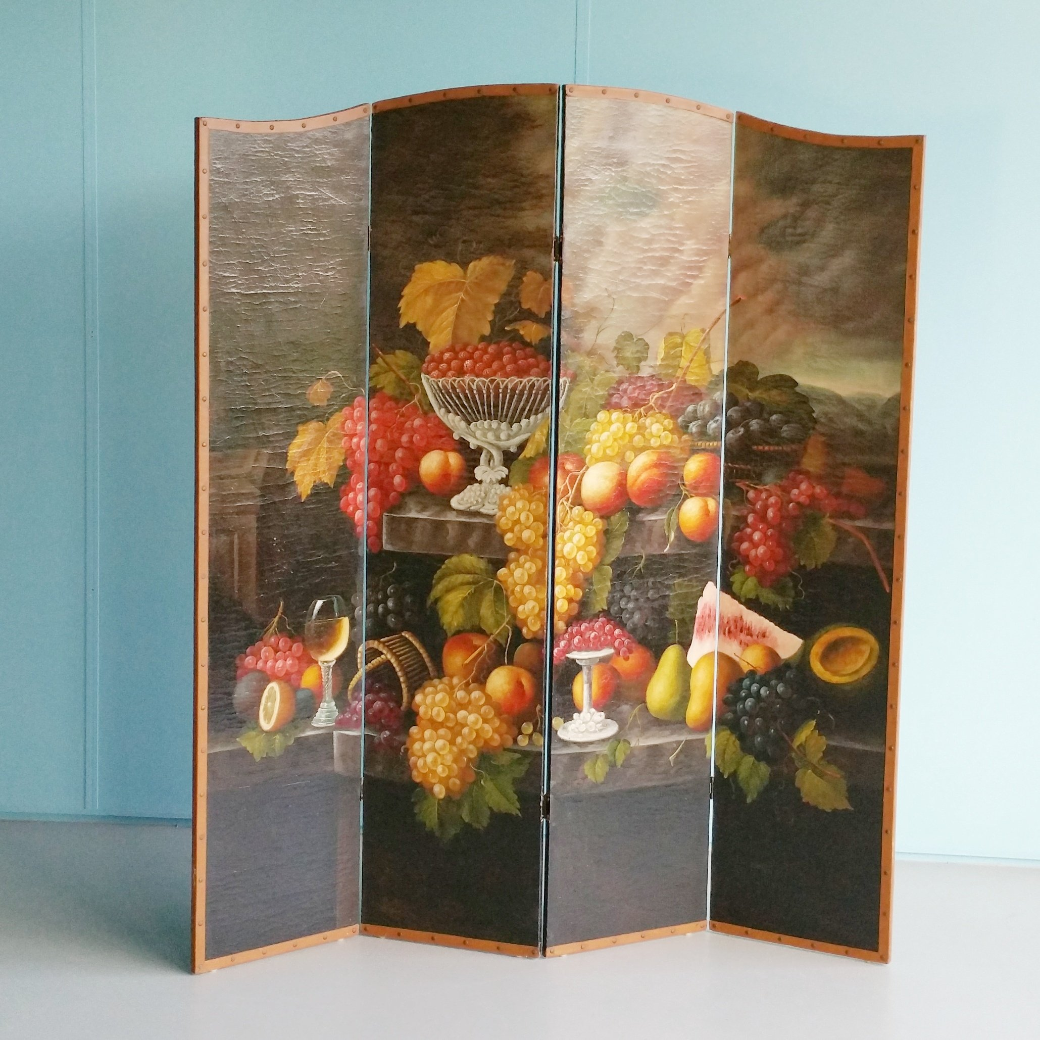 Vintage Four Panel Hand Painted Screen Room Divider 72290