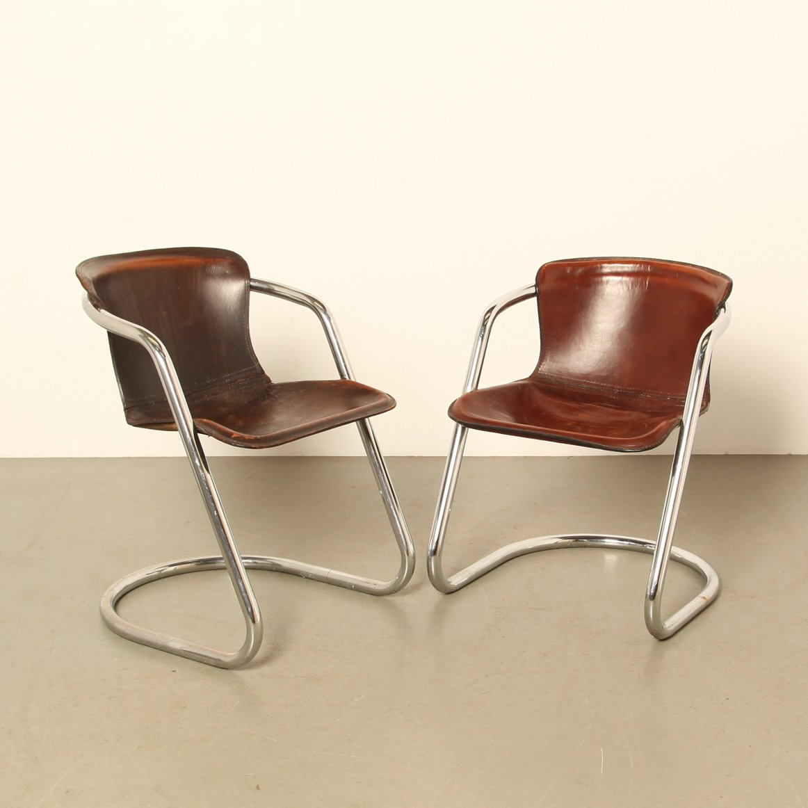 Set Of 2 Tubular Chrome Dining Room Chairs By Willy Rizzo For Cidue