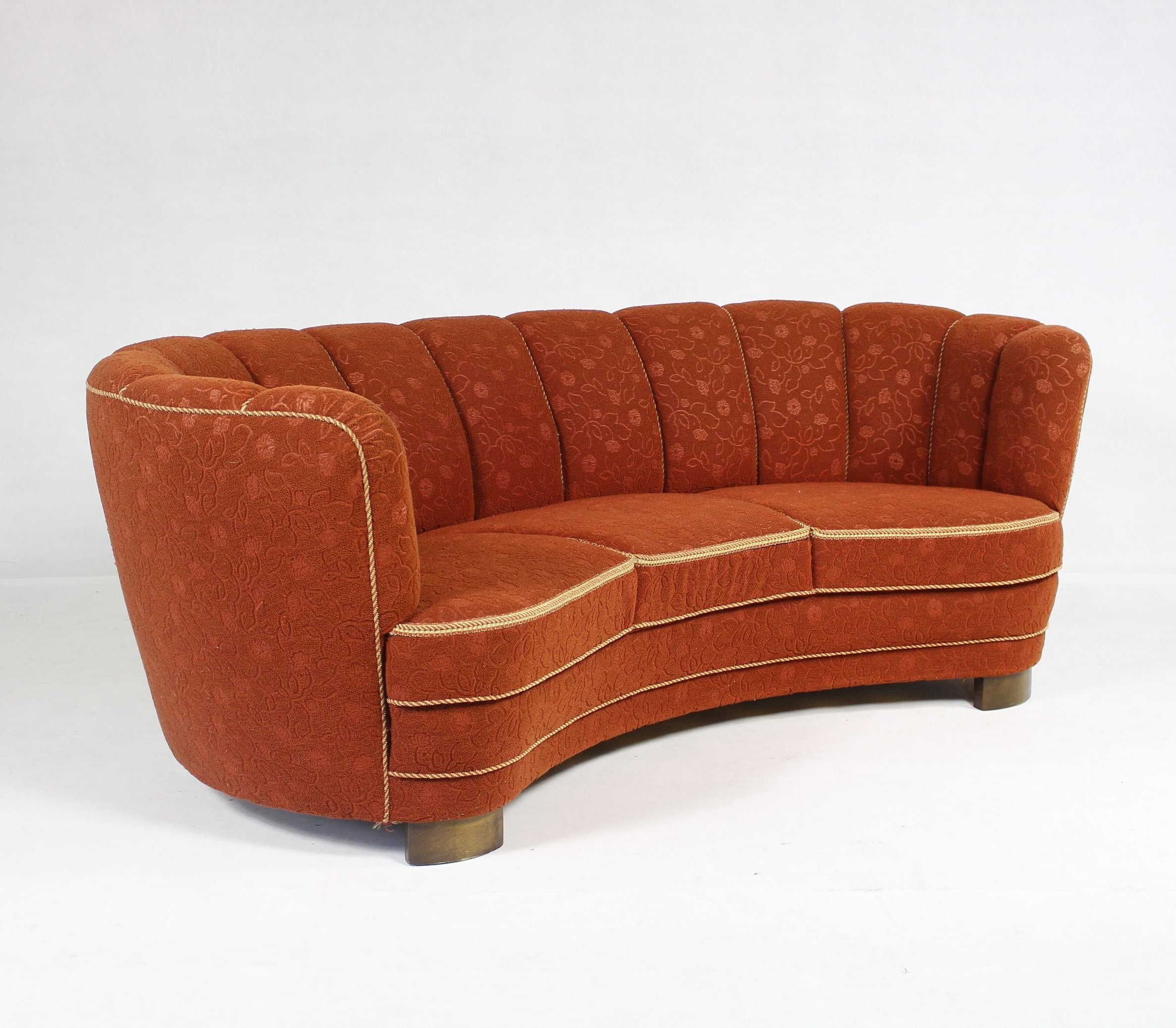 Vintage Art Deco Curved Sofa 1940s 72944