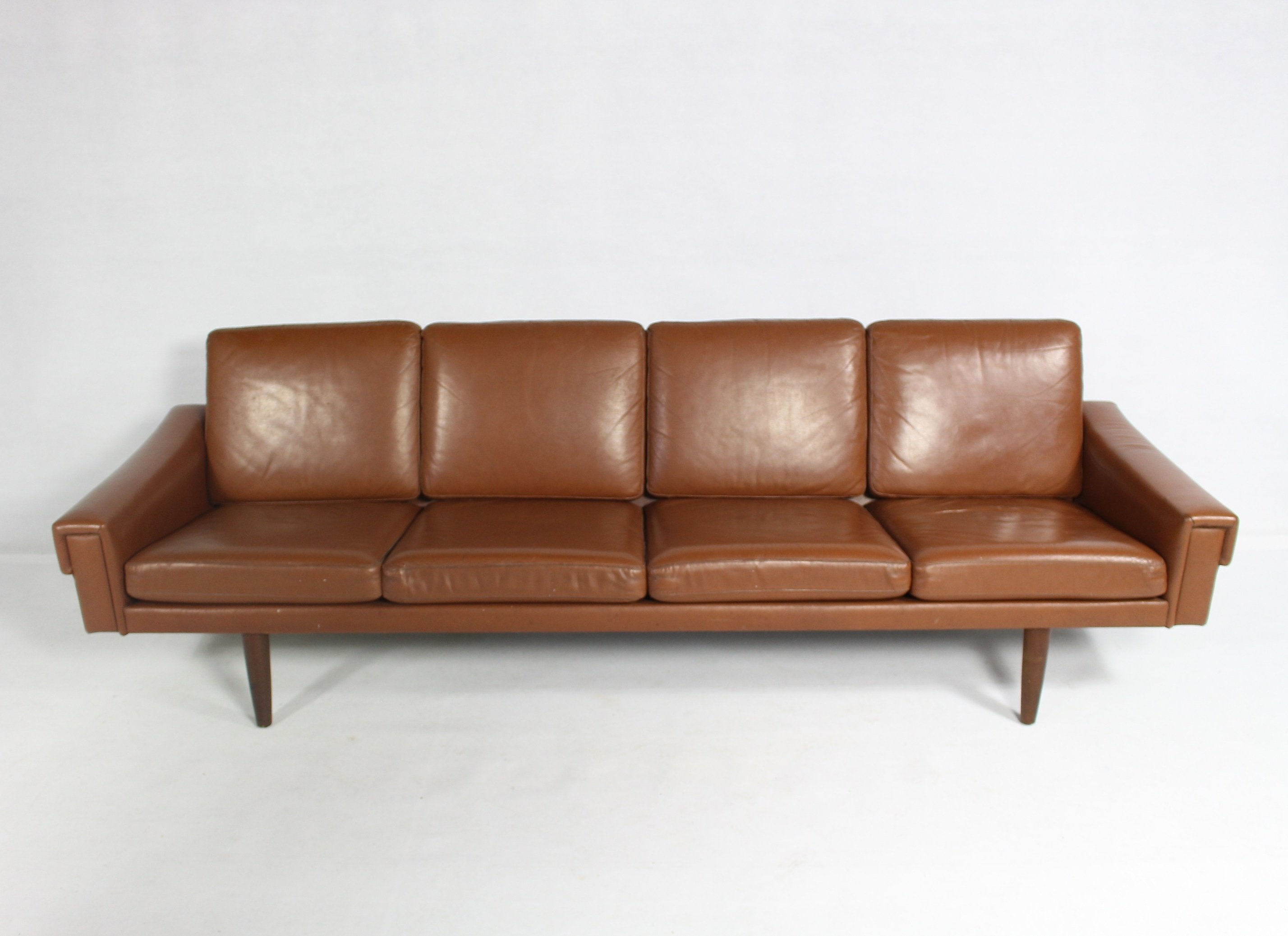Danish Leather 4 Seater Sofa 1960s