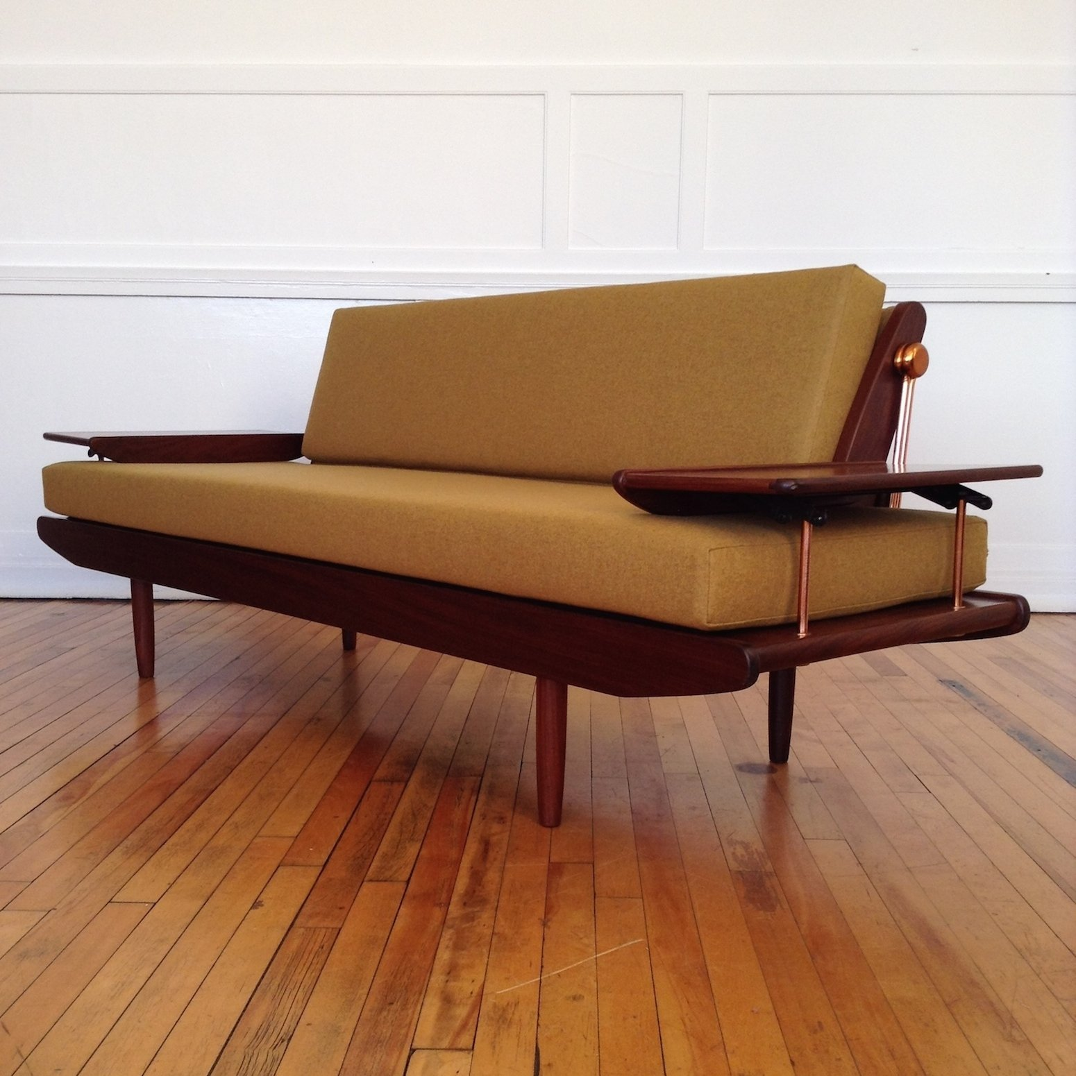 Midcentury British Sofa Bed By Toothill In Lambswool 1960s