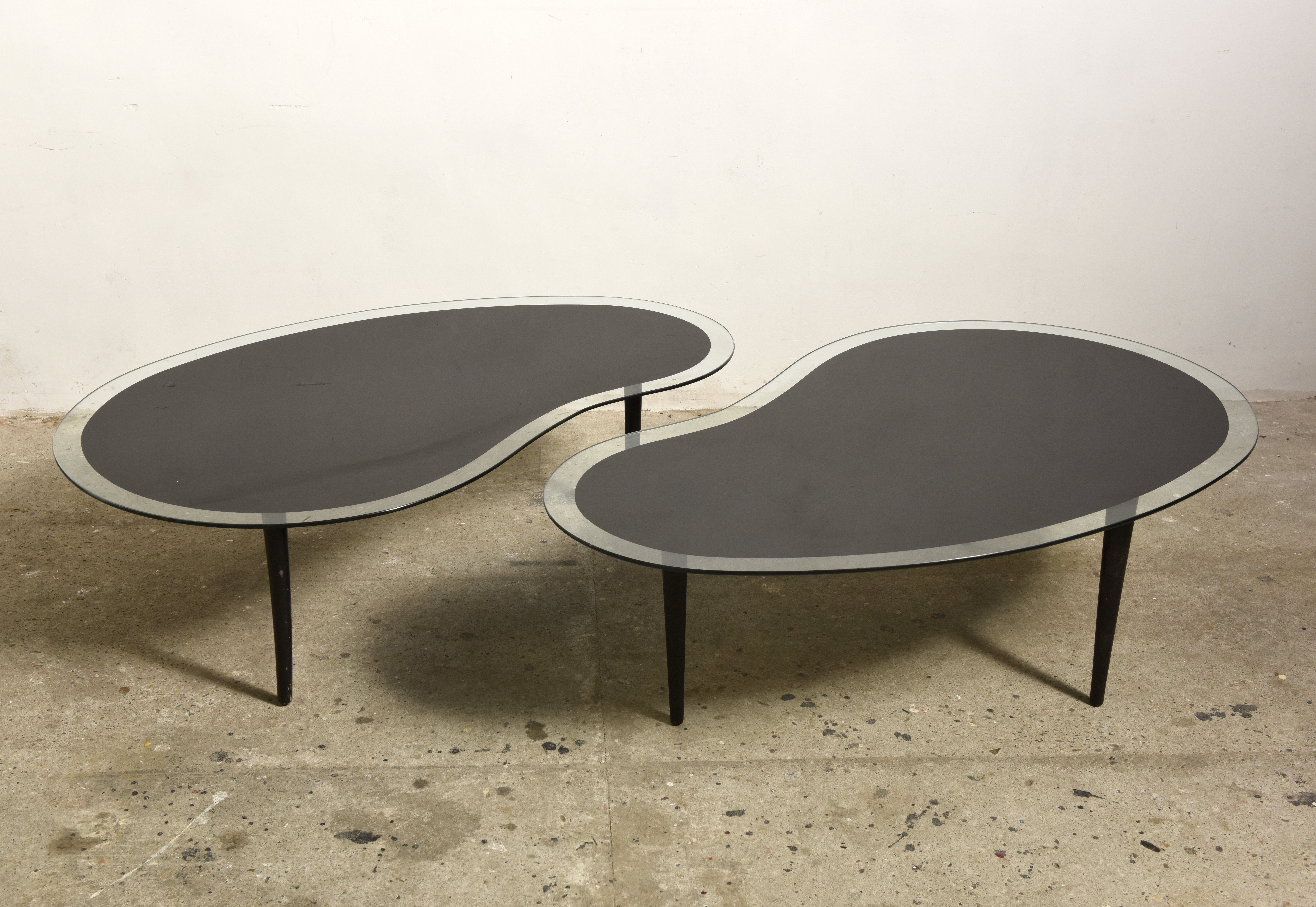 Kidney Boomerang Coffee Tables with Glass Top 1960s