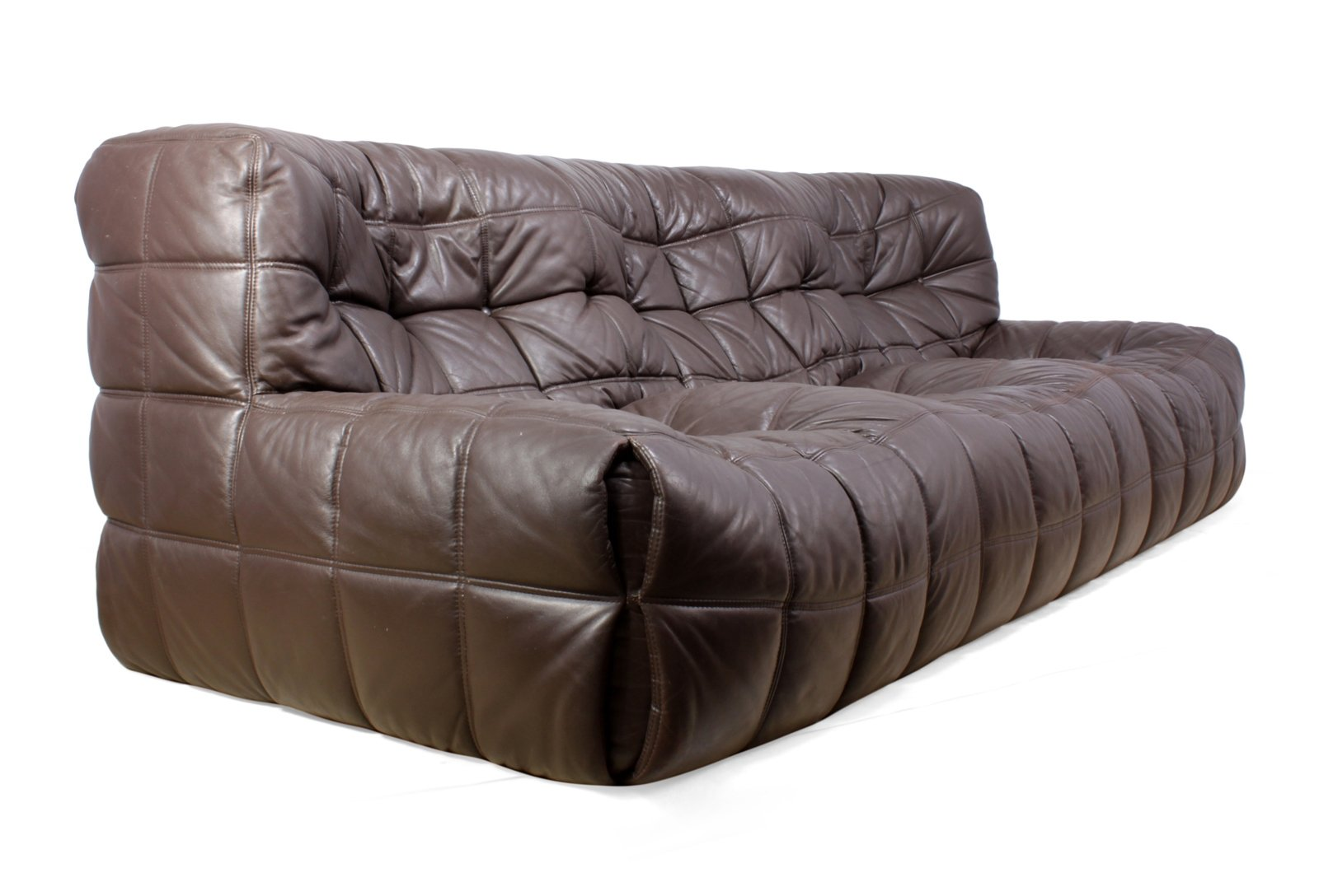 Mid Century Leather Kashima Sofa By Ligne Roset