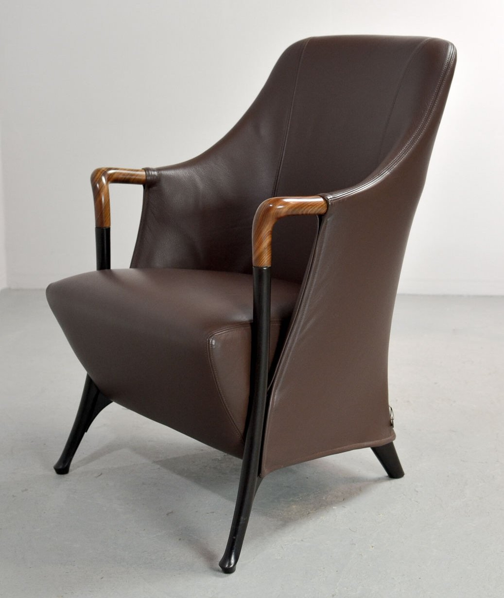 Mid Century Progetti Leather Lounge Chair By Giorgetti, 1980s