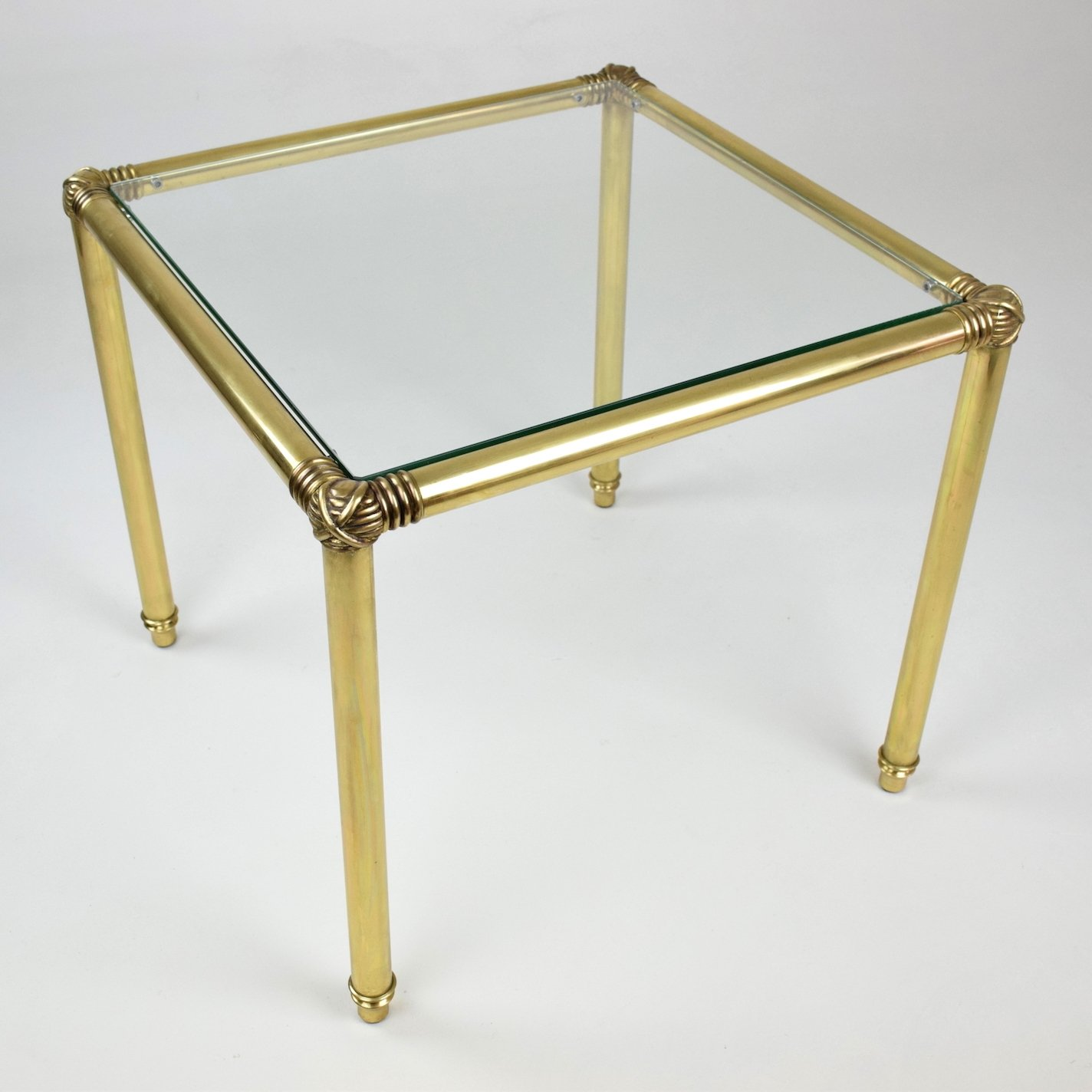 Vintage Brass Glass Top Coffee Table France 1970s