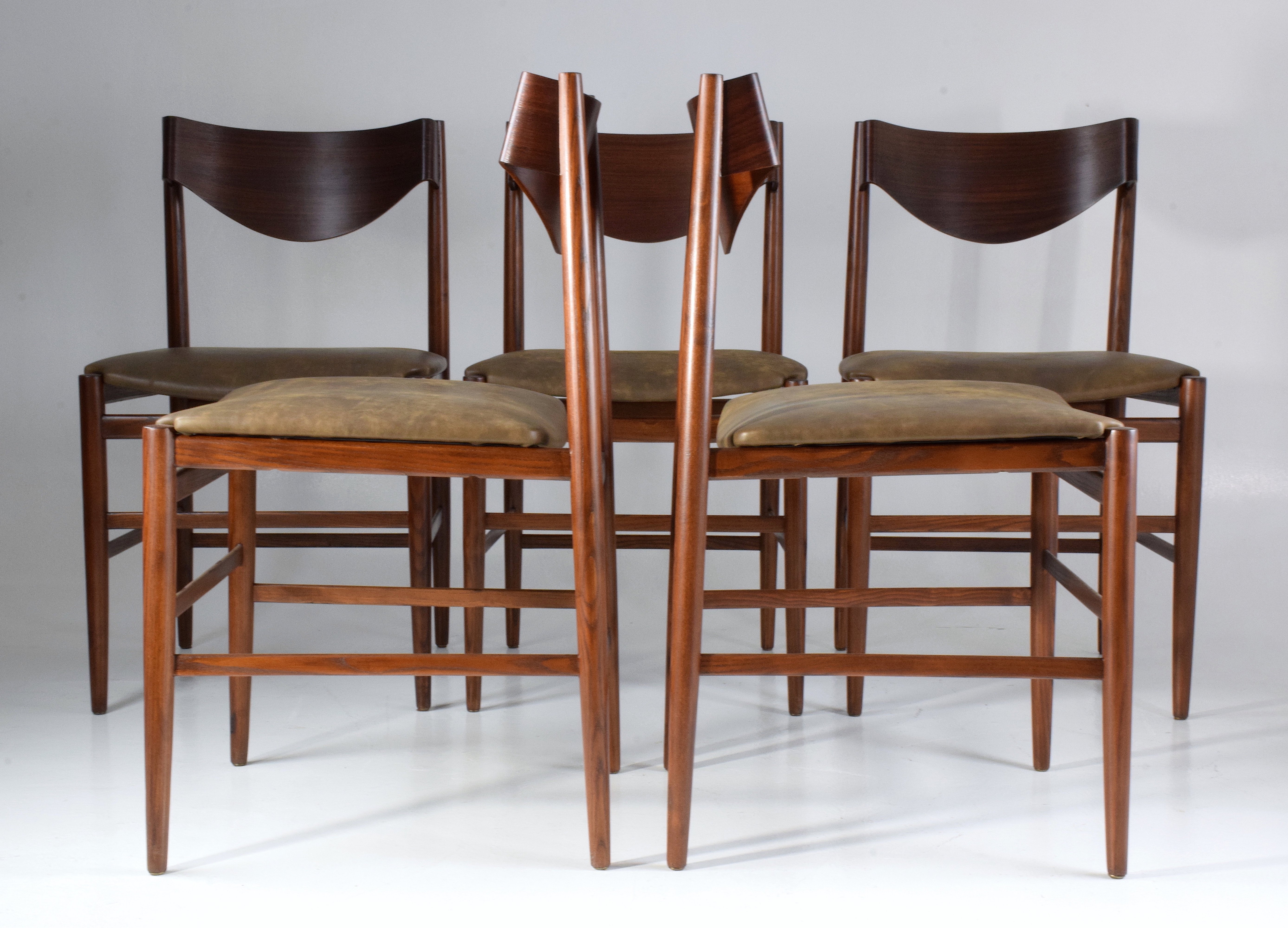 Set Of 5 Italian Curved Dining Chairs By Gianfranco Frattini, 1950s
