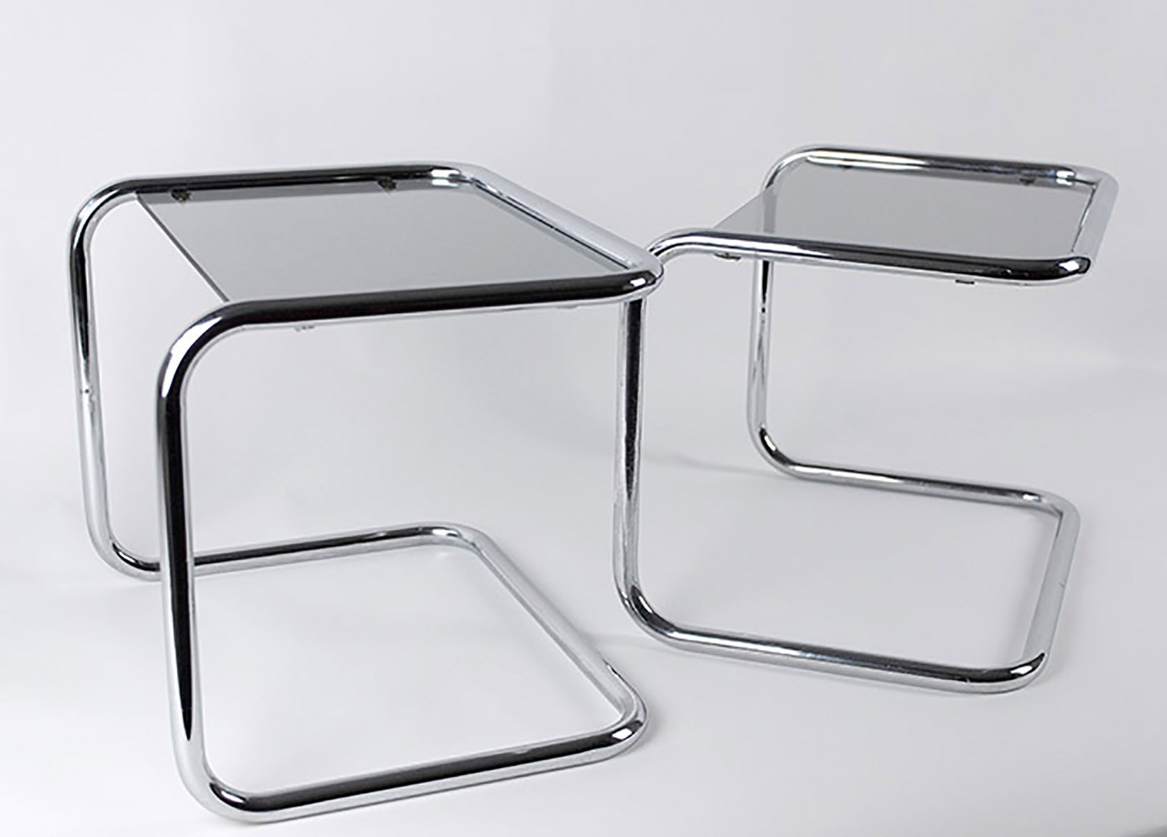 Glass U0026 Chrome Side Tables In Tubular Steel, 1970s