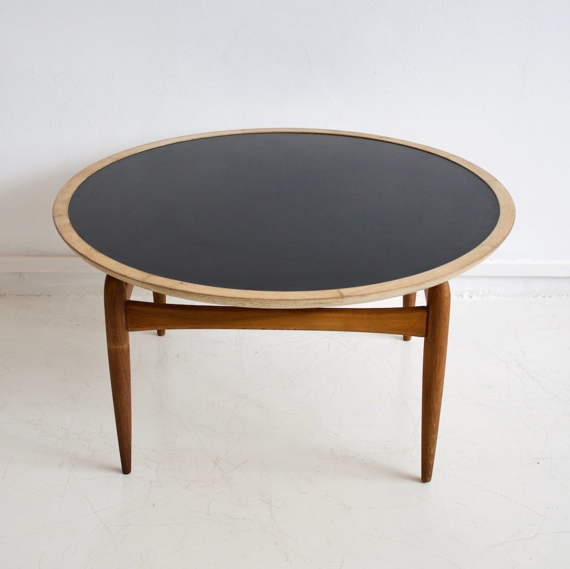 Black Oak Round Coffee Table: Round Oak & Black Formica Coffee Table By Ludvig