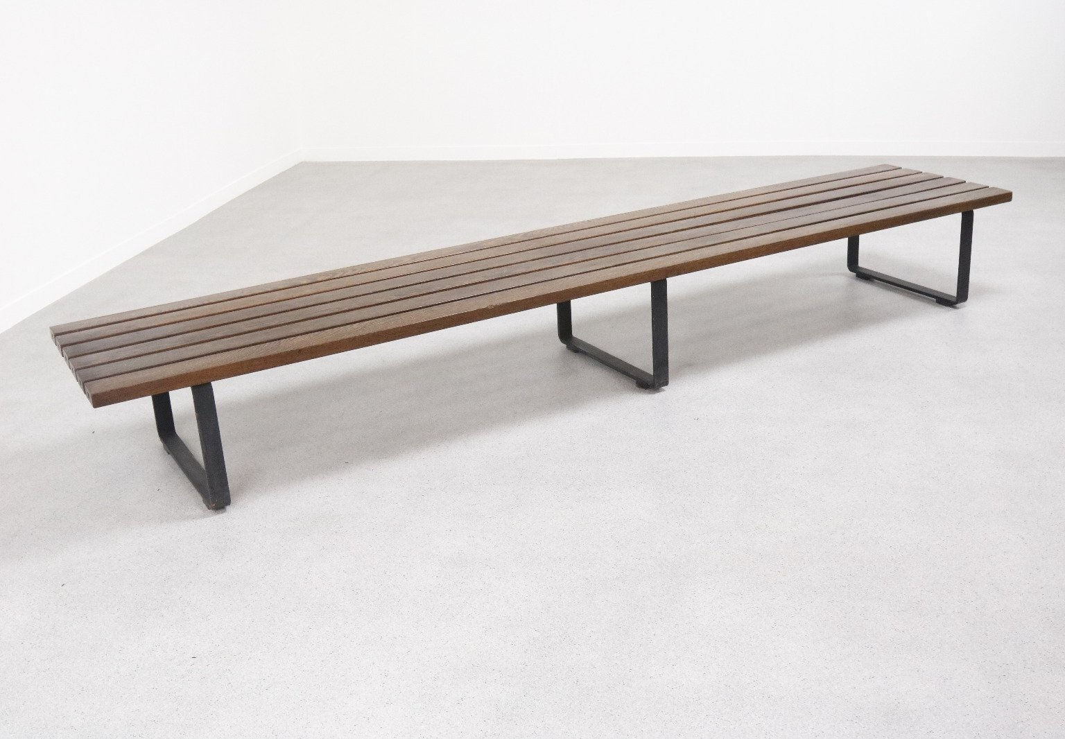 Extra Long Wenge Slat Bench 1960s 74425