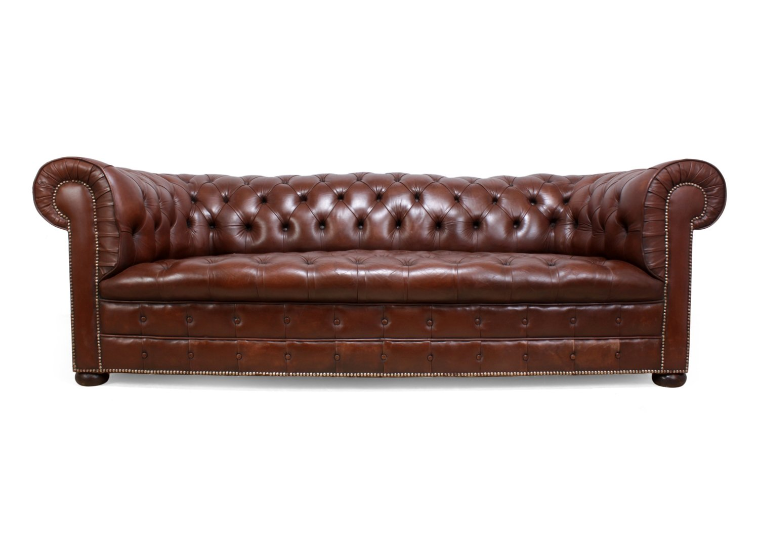 Vintage Brown Leather Chesterfield sofa, 1960s | #74829