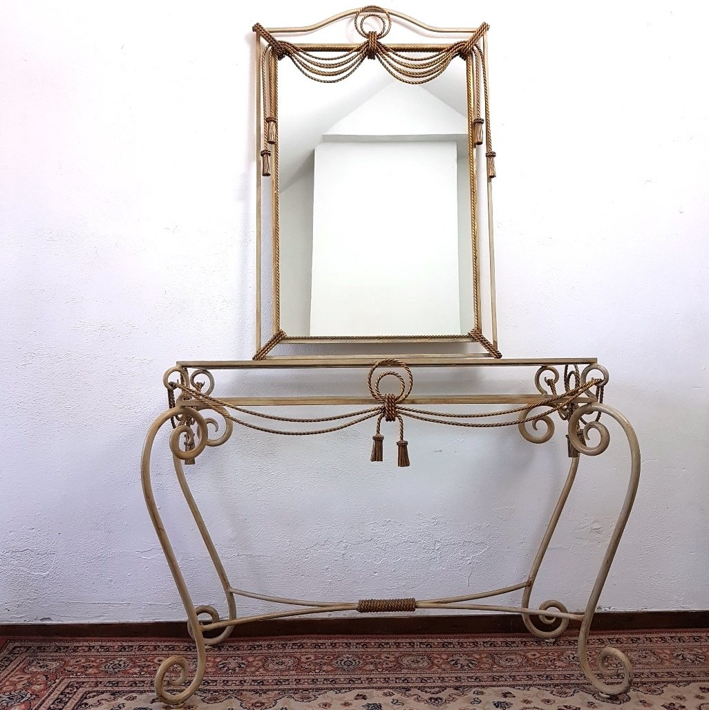 Wrought iron console table with mirror, 1960s | #75051