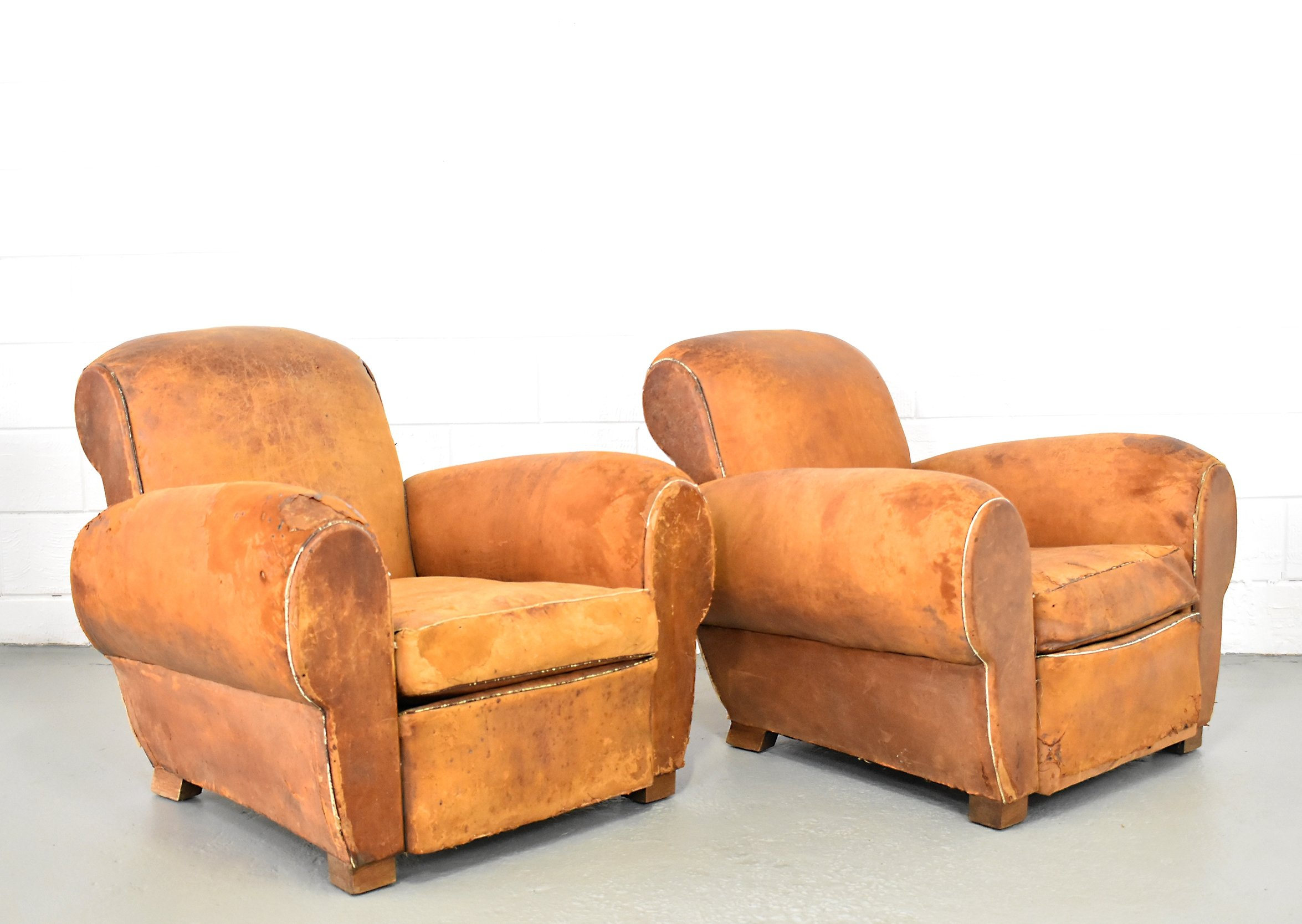 Set Of 2 French Club Chairs, 1920s