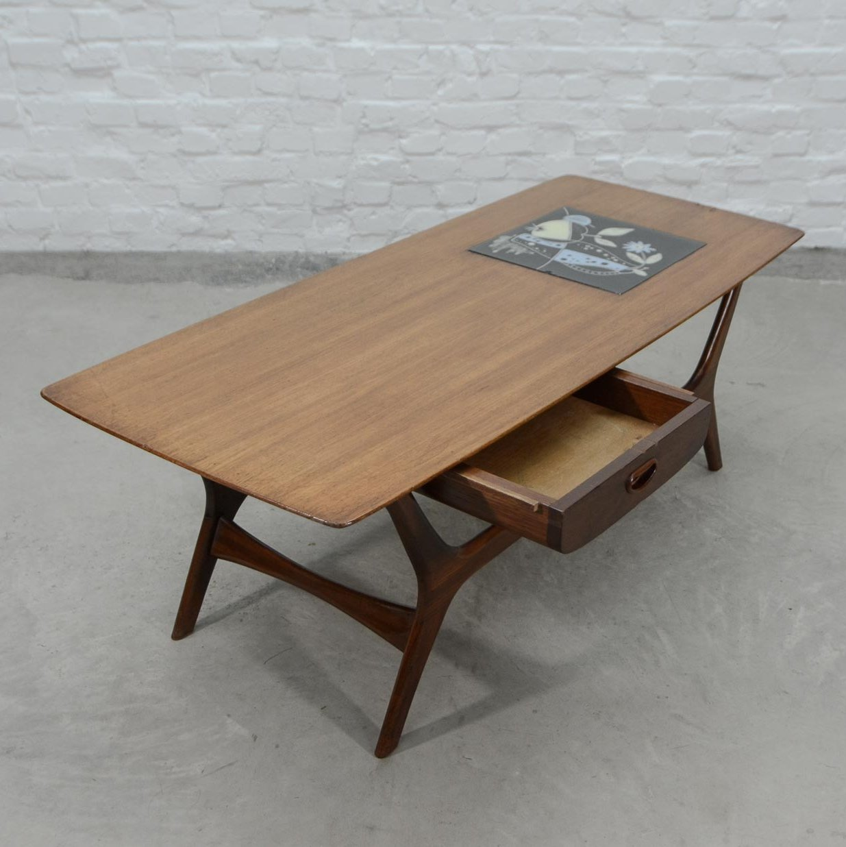 Dutch Design Teak With Tiles Coffee Table By Louis Van Teeffelen For Webe 1960s