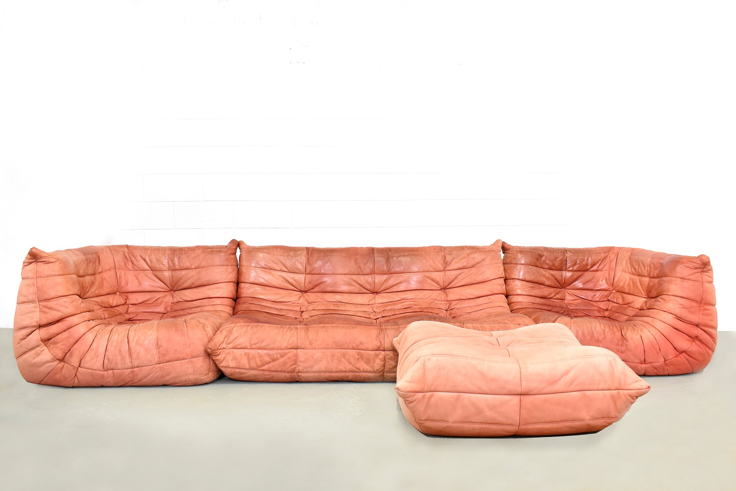 Togo Sofa In Suede Leather By Michel Ducaroy For Ligne Roset 1980s
