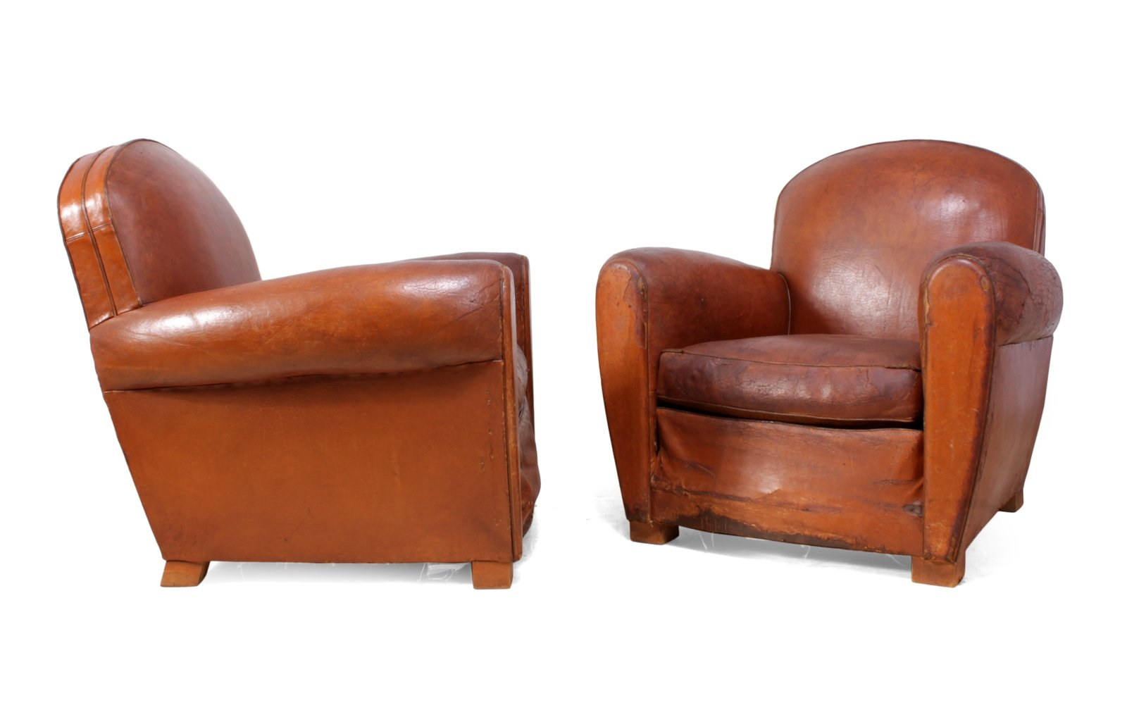 Good Pair Of French Leather Club Chairs