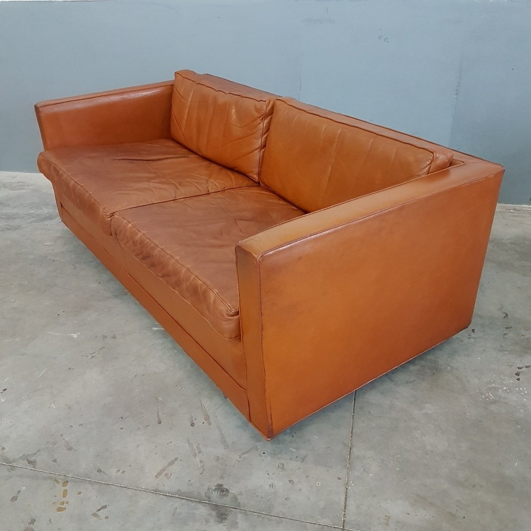 Cognac Leather Sofa By Pierre Paulin For Artifort 1960s