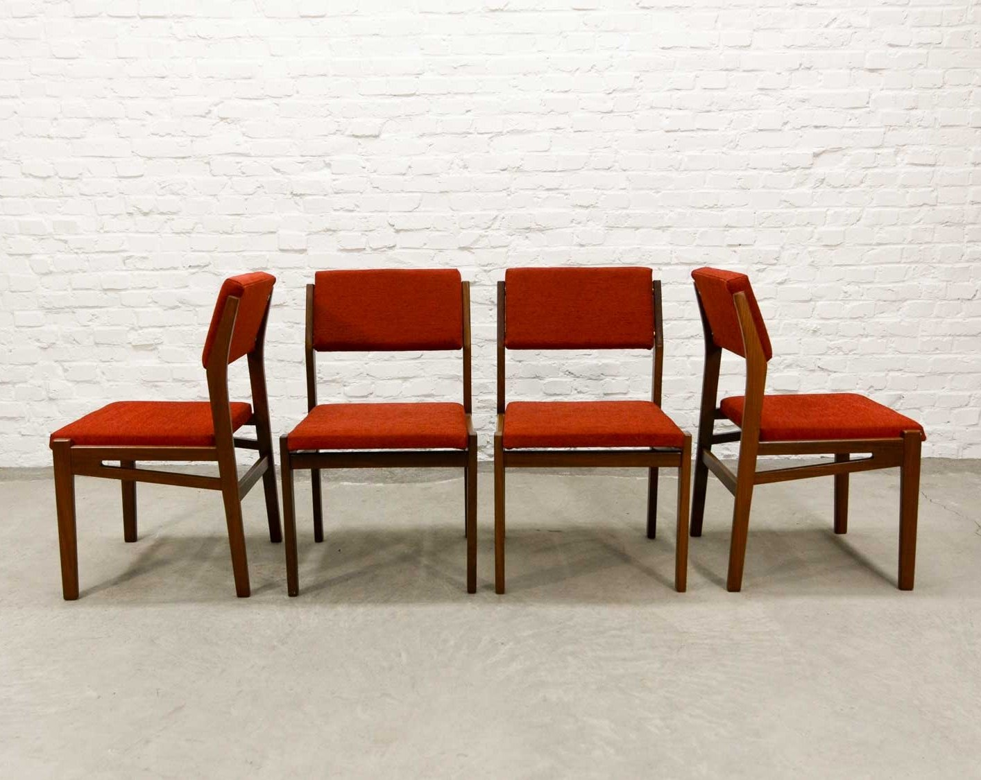 teak wood chairs. Set Of Four Teak Wood Stone Red Dining Chairs By Topform, 1960s